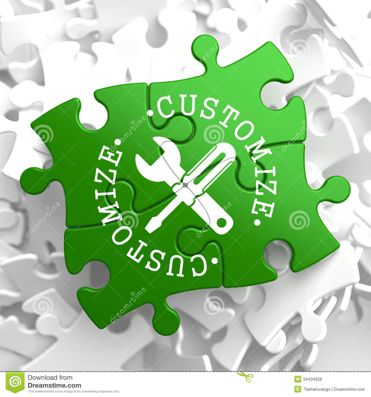 customize concept on green puzzle pieces stock illustration