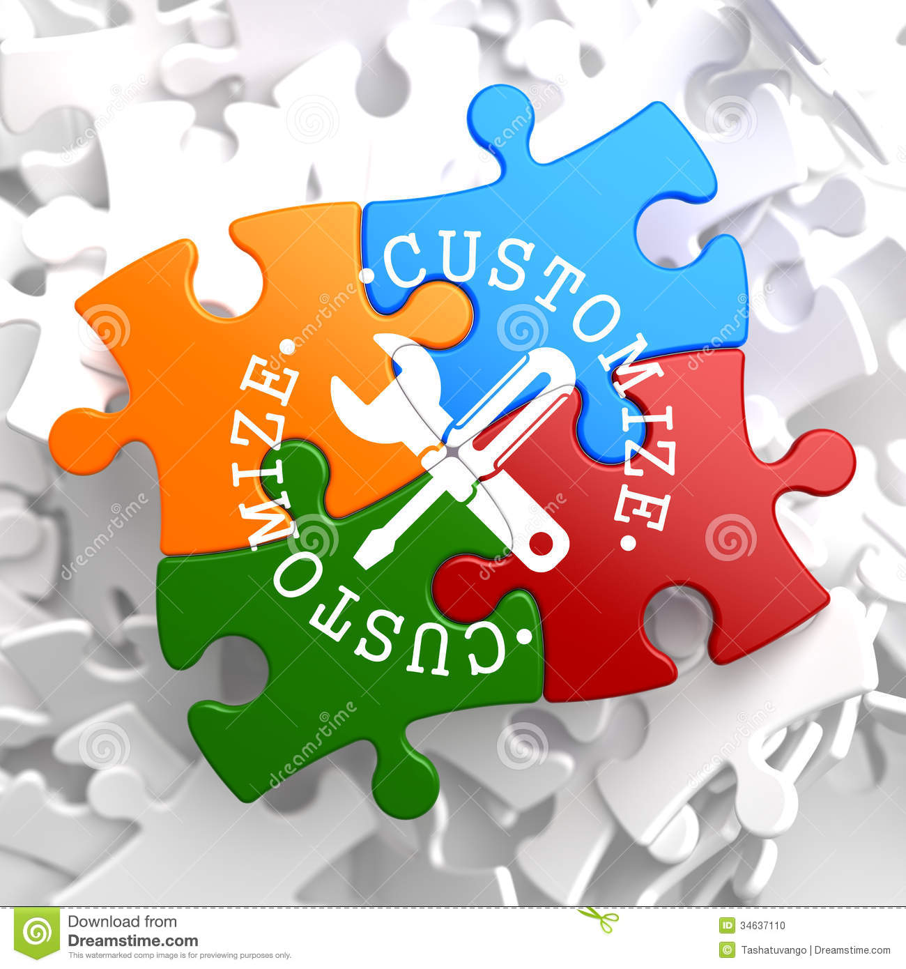 Customize Concept On Multicolor Puzzle Stock Photo