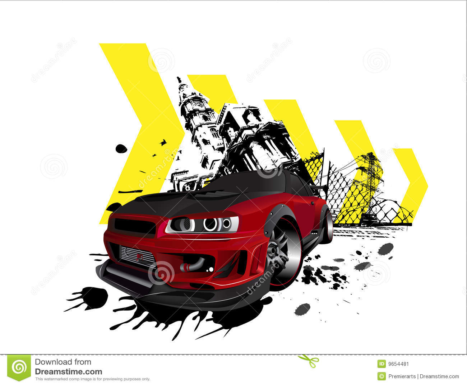 Customized Nissan Skyline Gtr Grunge City Stock Image