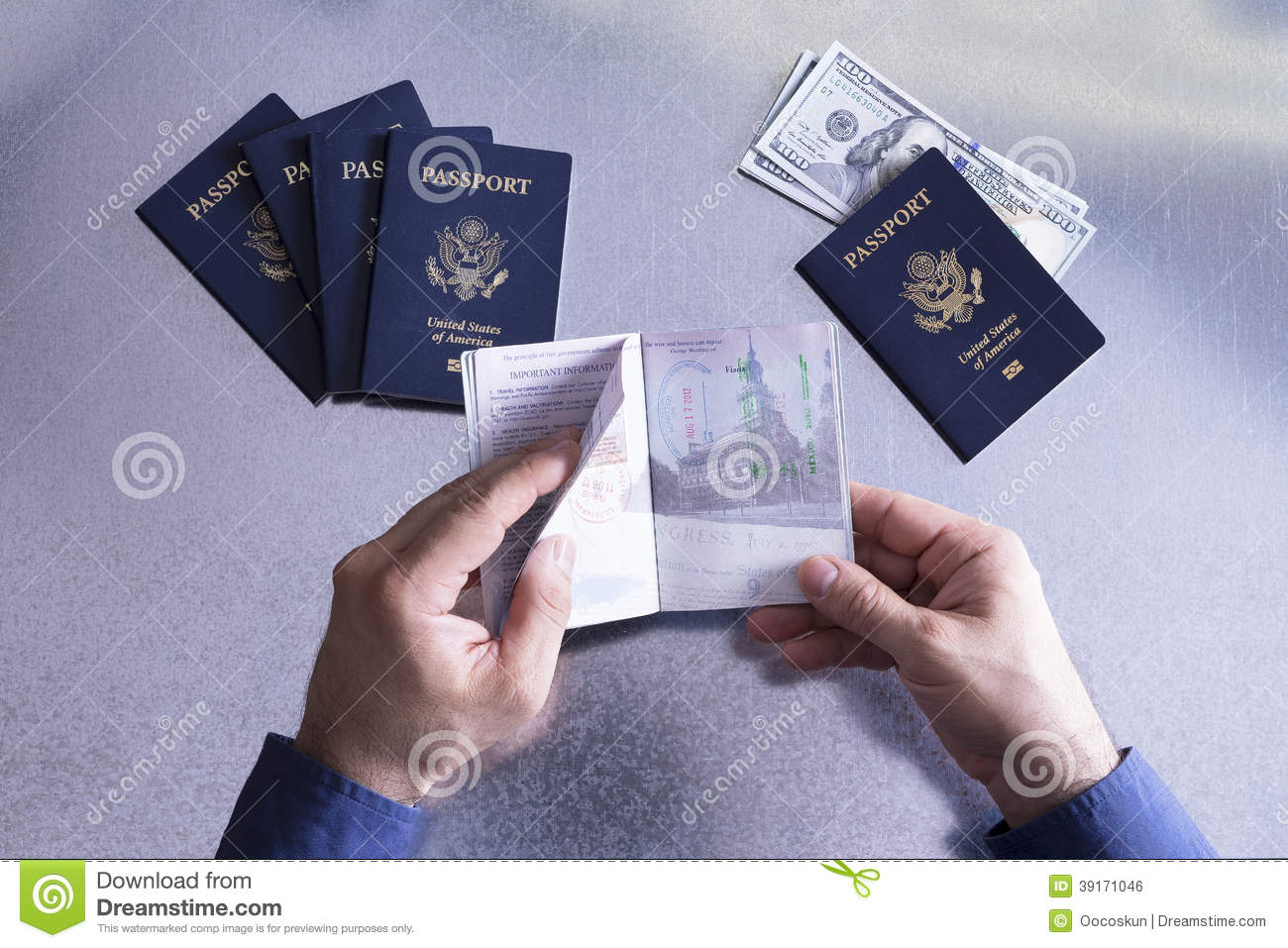 Customs or border official checking a passport
