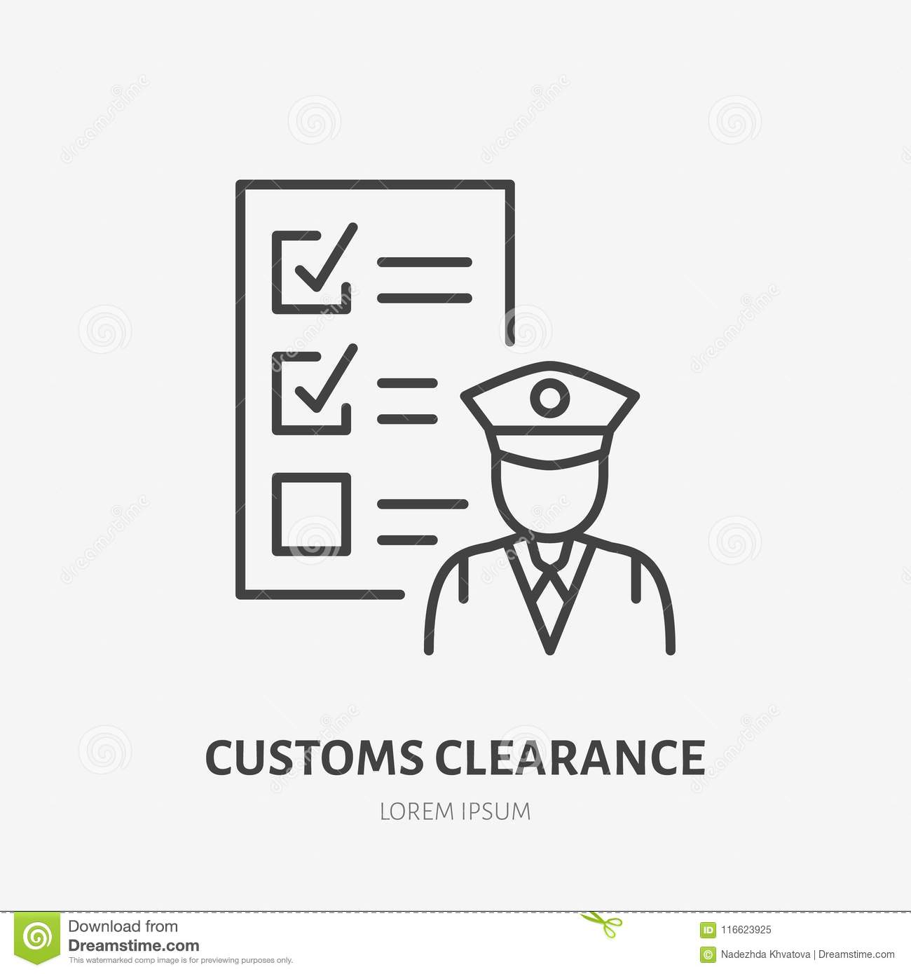 Customs clearance flat line icon. Policeman inspecting luggage sign. Thin linear logo for cargo trucking, freight