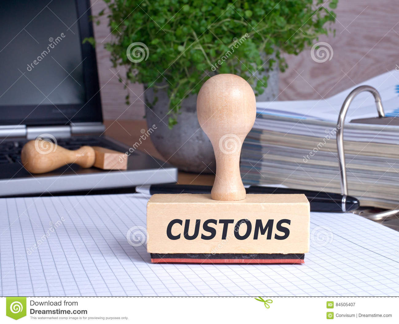 Customs Stamp on desk in the Office