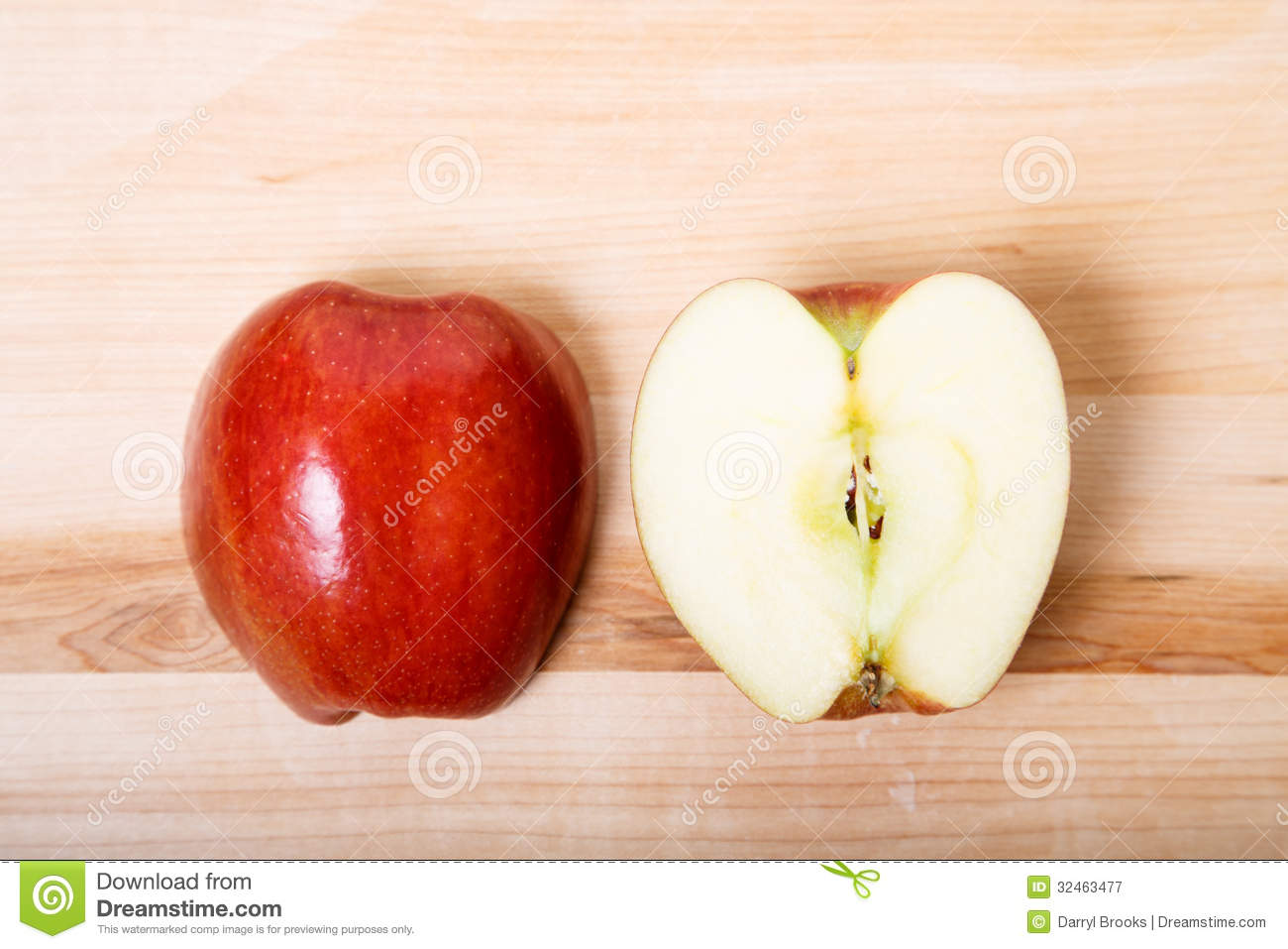 cut apple on wood cutting board stock image image 32463477