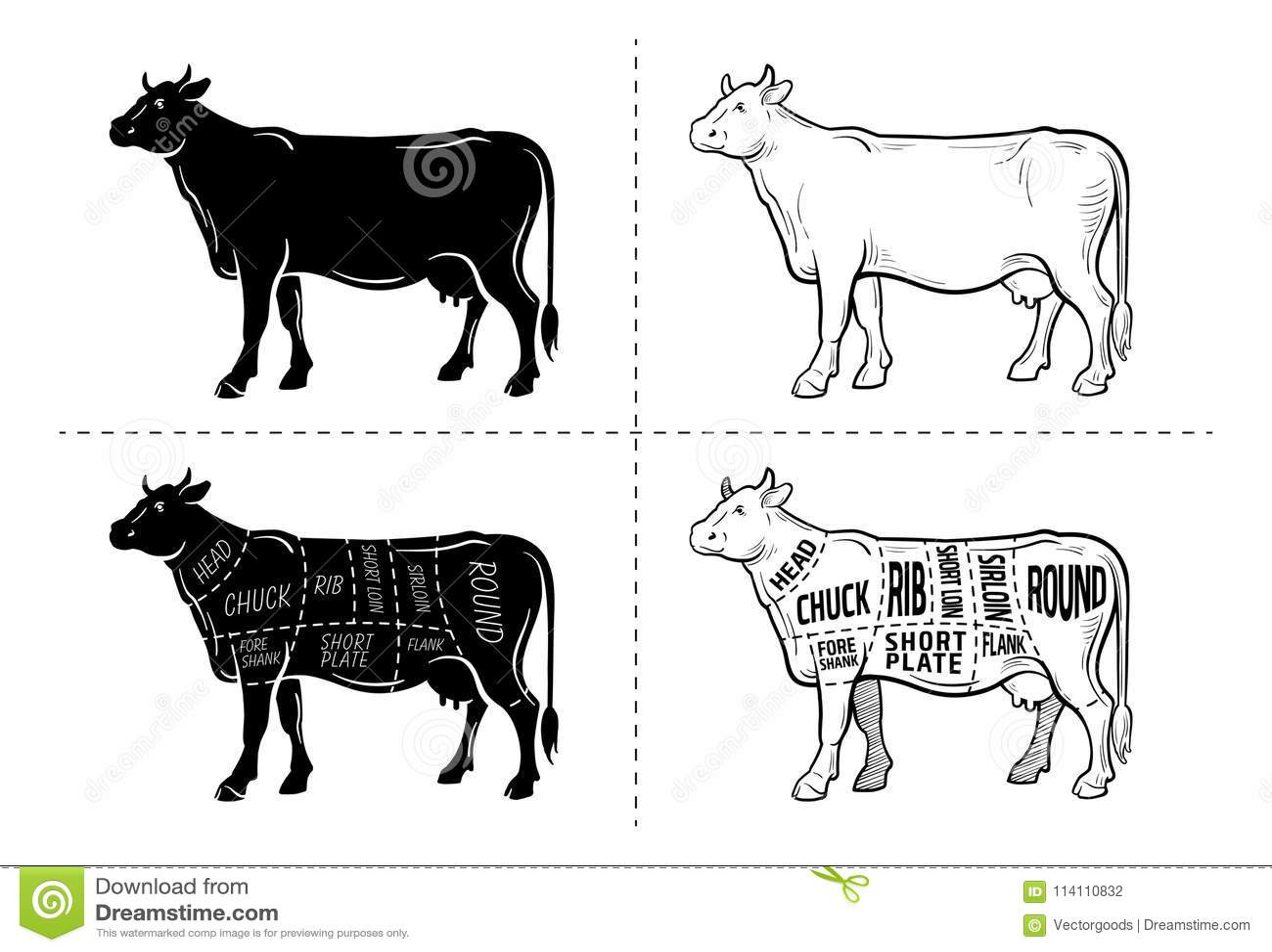 Download Cut Of Beef Set Poster Butcher Diagram