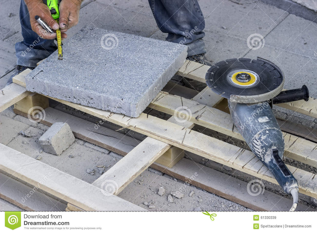 Cut Bricks With A Angle Grinder Stock Photo Image 61330339