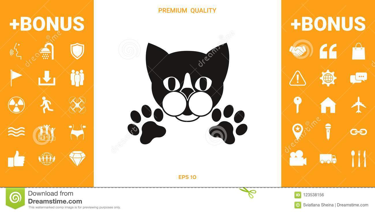 Cut Cat With Paws - Logo, Symbol, Protect Sign Stock Vector