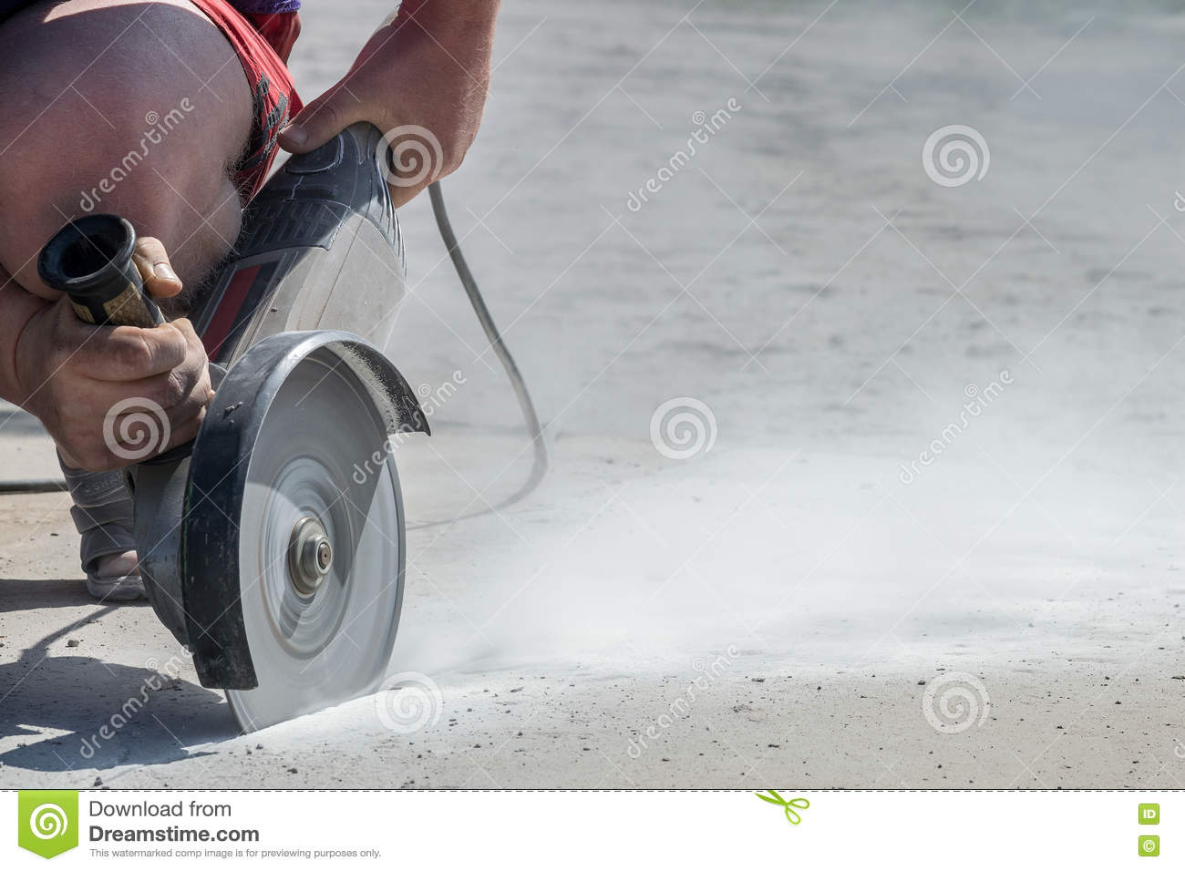 Cut Concrete Slab Angle Grinder In Action Stock Photo