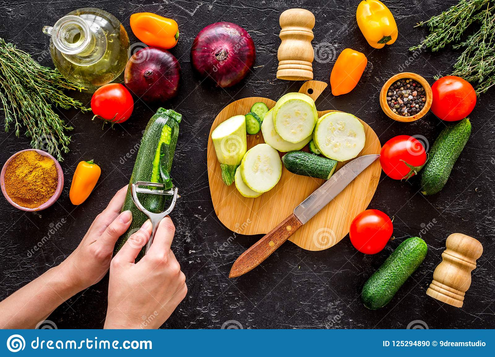 Clean Cut Board Gbppr Vision 3 Cutting Cleaning Printed Circuit Material Different Fresh Vegetables Cooking Vegetable Stew Hands Squash Skin Black
