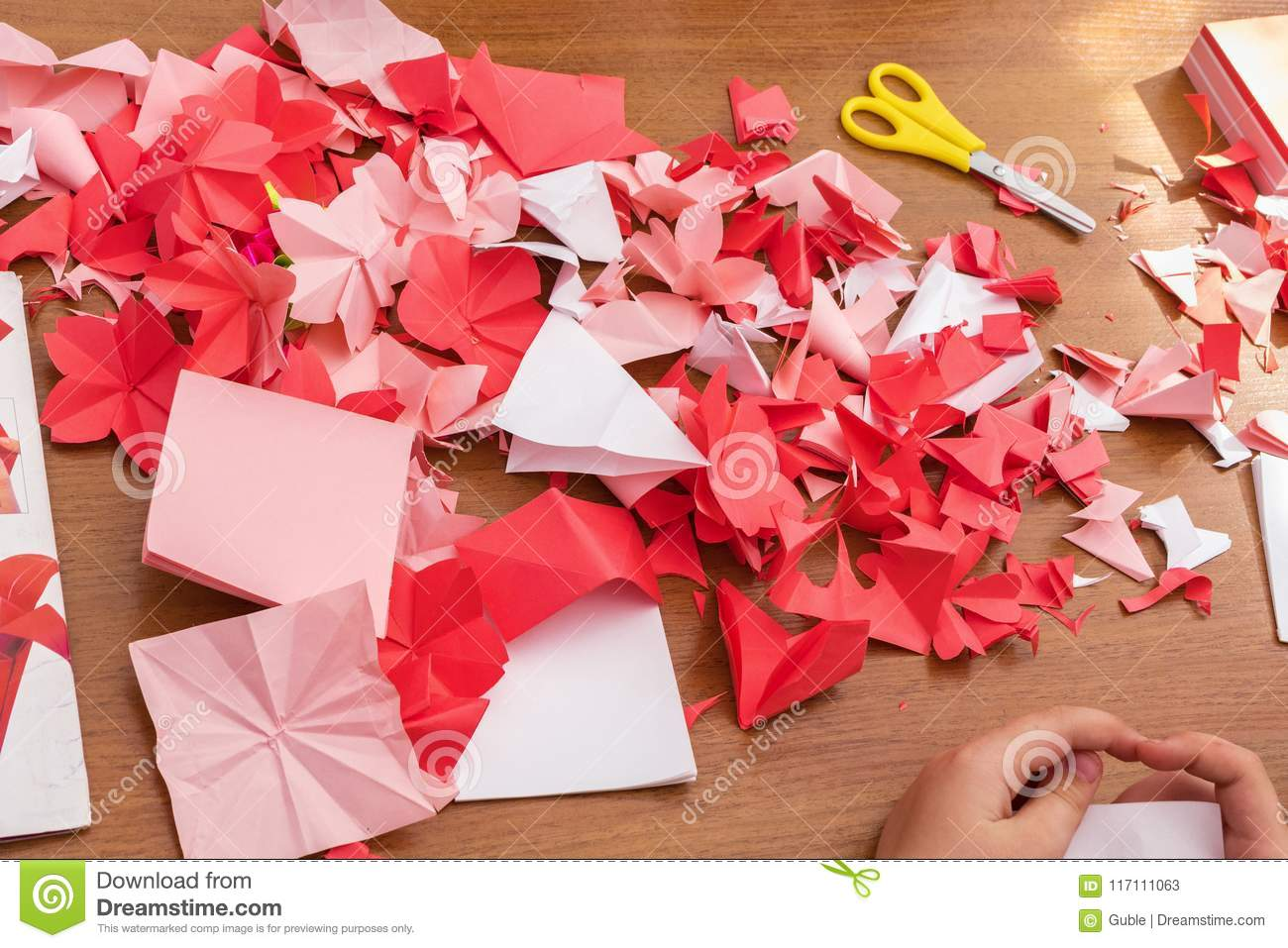 Cut Flowers From Paper Creating Origami Flowers Stock Image Image