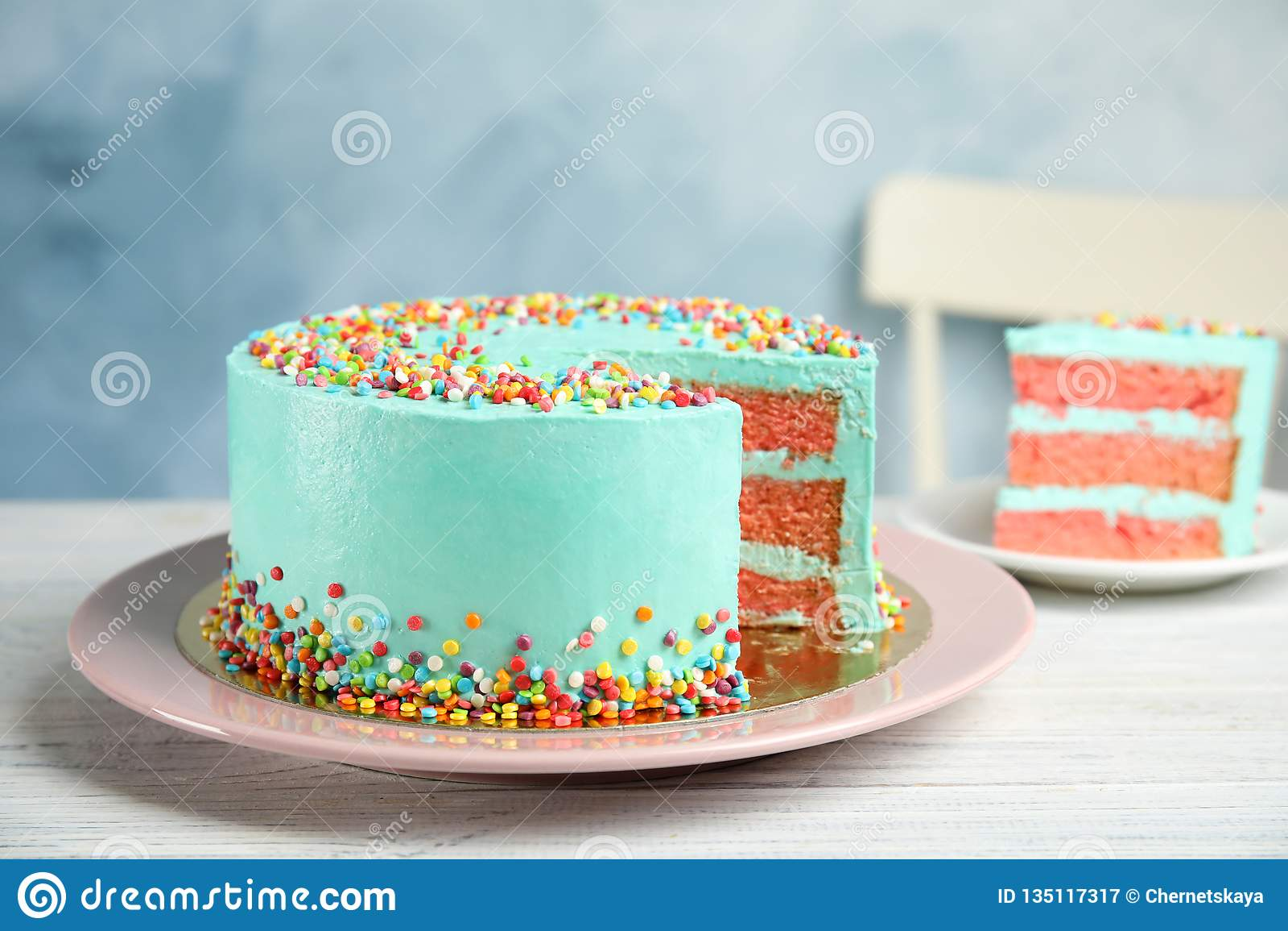 Cut Fresh Delicious Birthday Cake