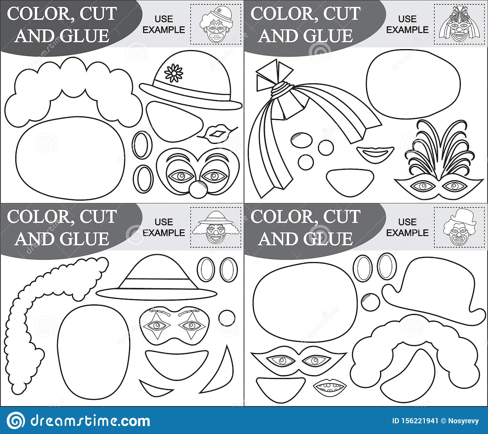 Cut And Glue Clowns, Coloring Book. Educational Games For ...