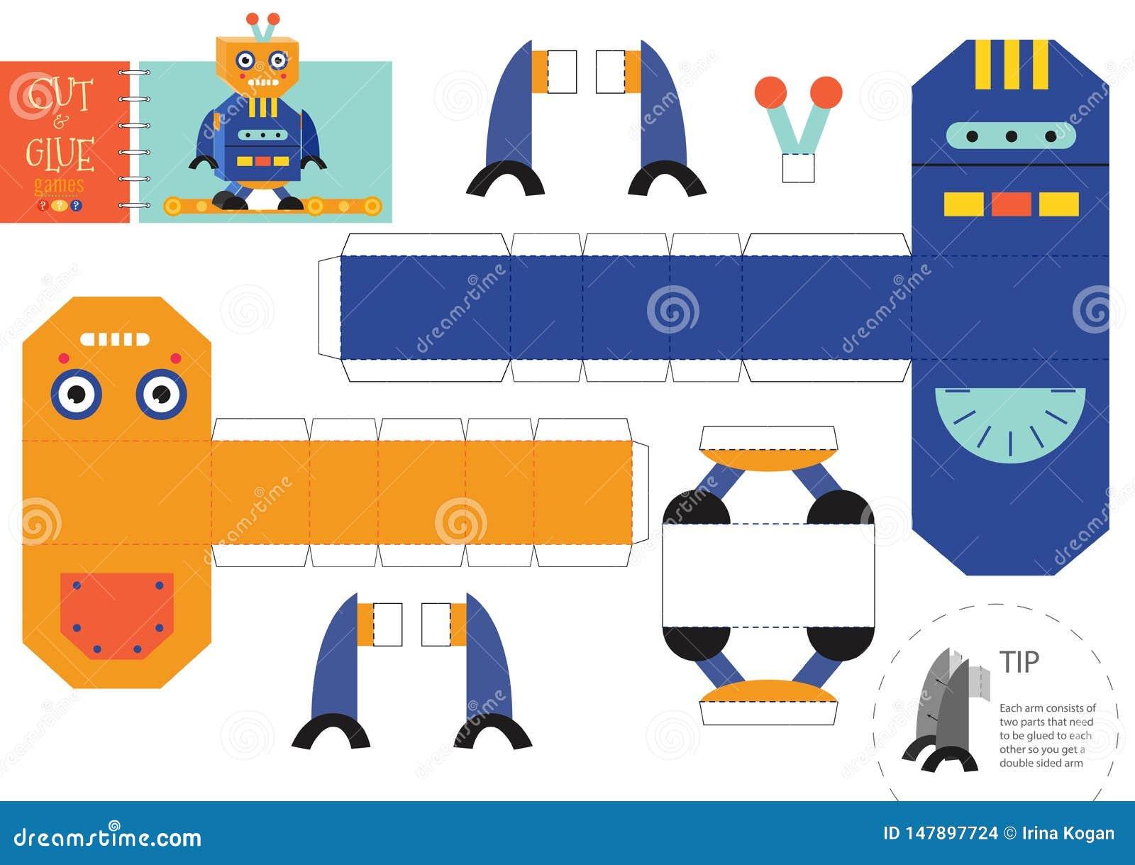 Cut And Glue Robot Toy Vector Illustration, Worksheet  Paper