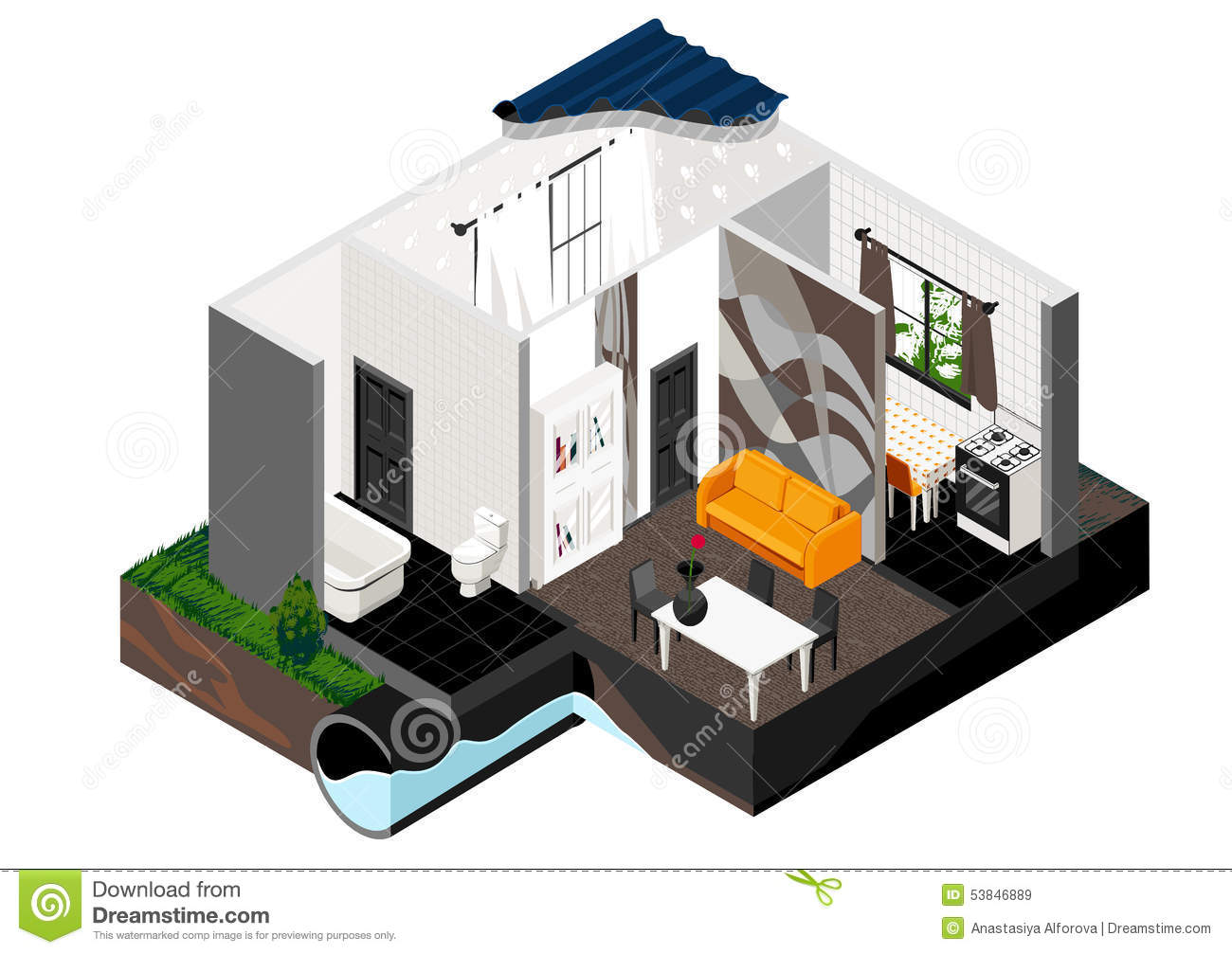a cut of the house  isometric view  stock vector