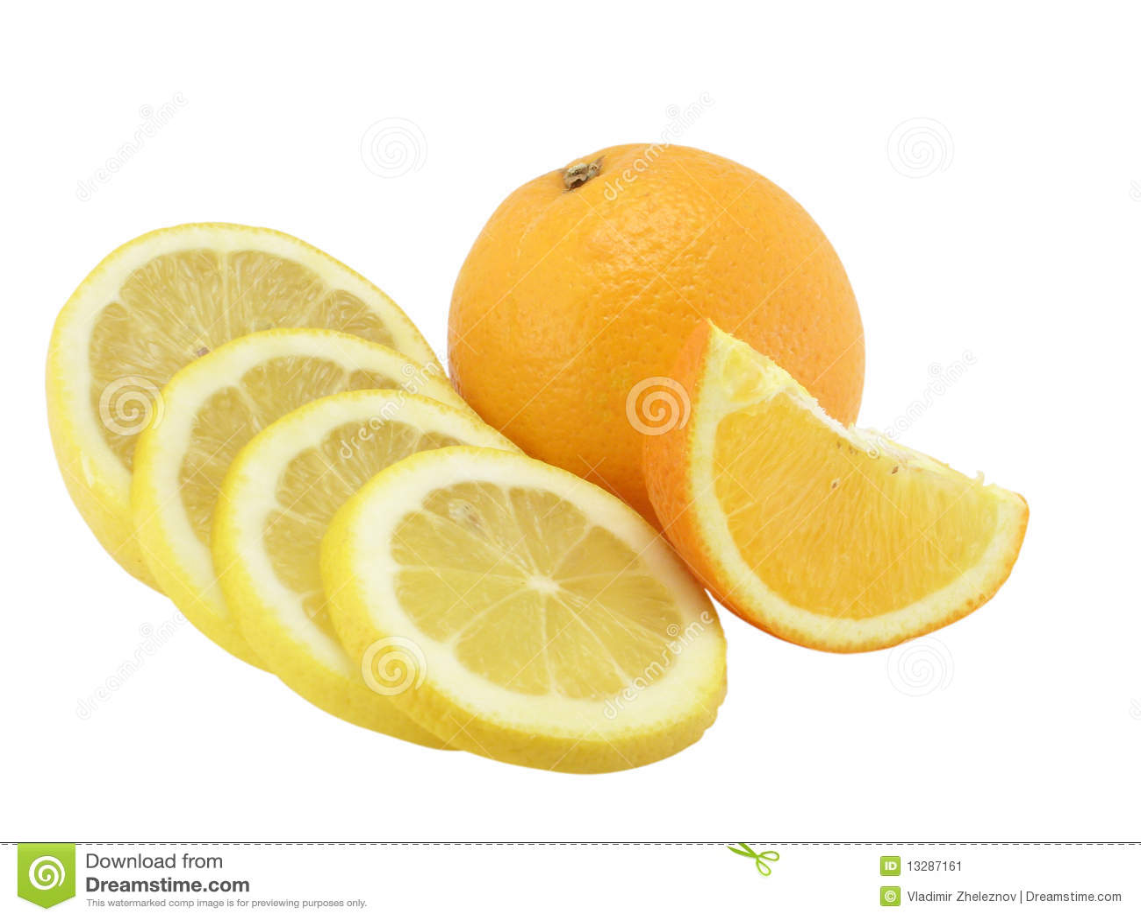 The Cut Lemon, The Whole Orange And Orange Segment Stock Image - Image ...