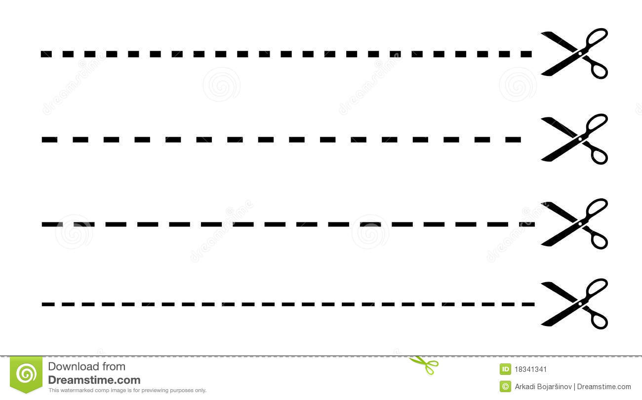 Vector Drawing Lines Worksheet : Cut lines with scissors stock vector illustration of