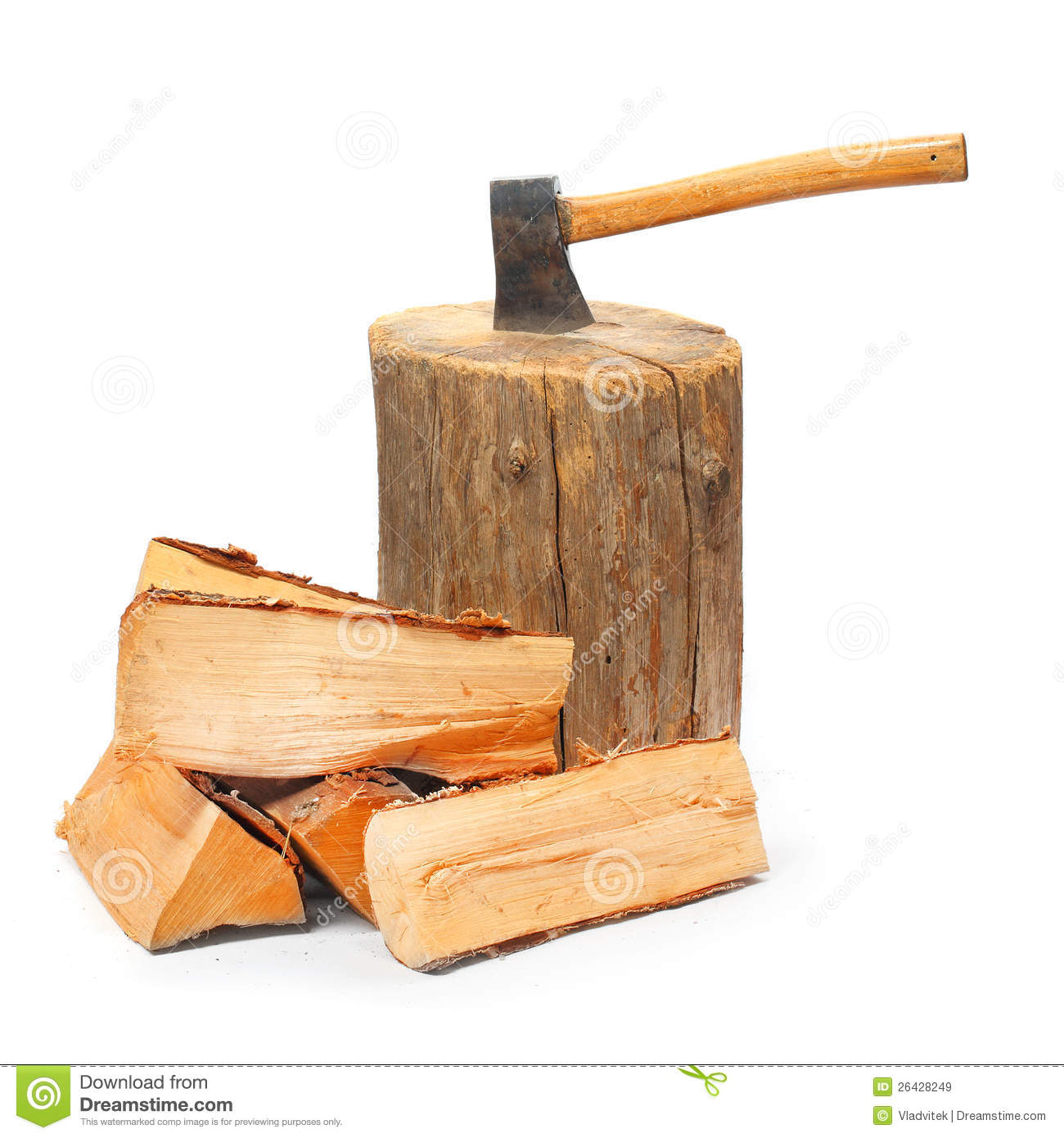 Wood Tools For Cutting Firewood ~ Cut logs fire wood and old axe stock image