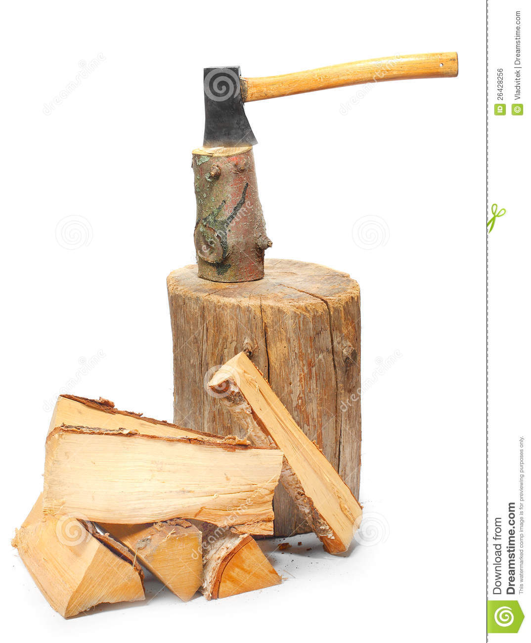 Cut Wood Logs ~ Cut logs fire wood and old axe stock photo image