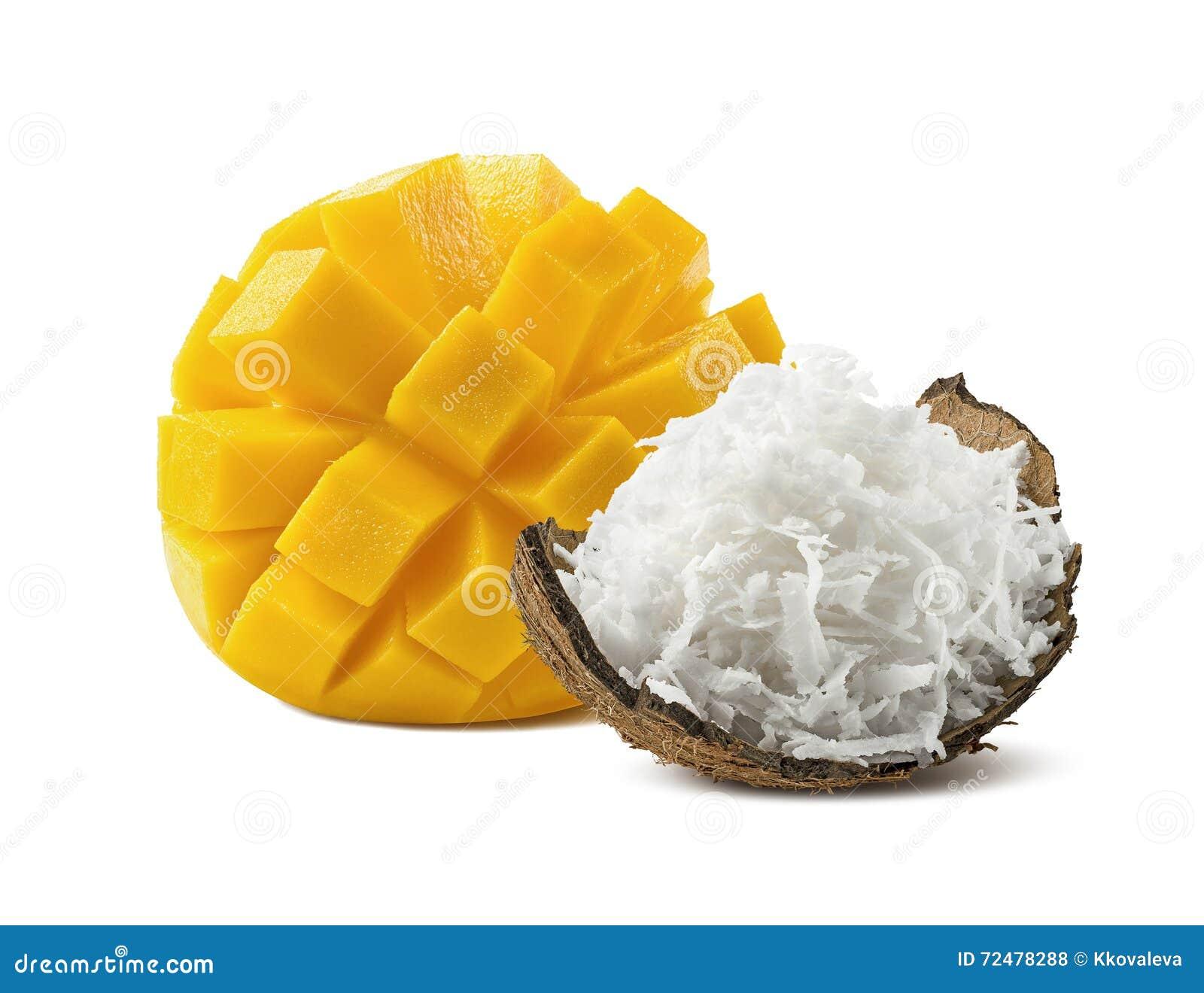 Cut Mango Shredded Coconut On White Background Stock Photo Image