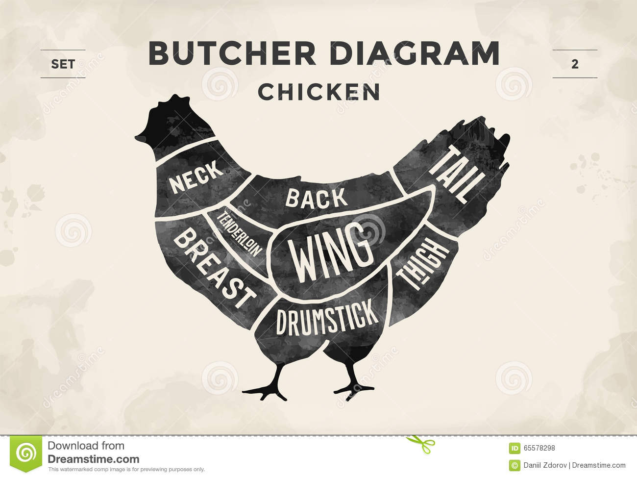 Cut Of Meat Set. Poster Butcher Diagram And Scheme - Chicken Stock ...