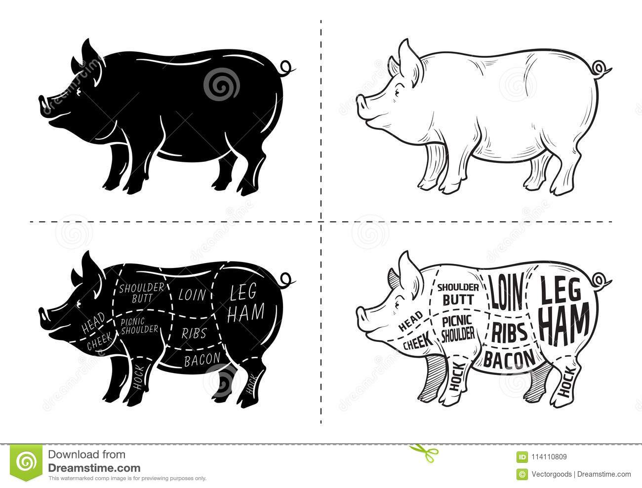 Cut Of Meat Set. Poster Butcher Diagram, Scheme And Guide - Pork ...