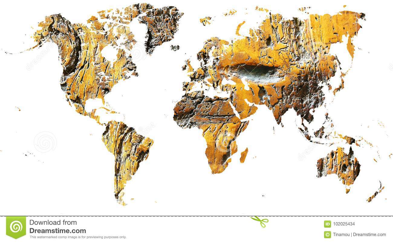 Wood World Map Cut Out.World Map Cut Out In Ancient Grunge Wood Stock Illustration