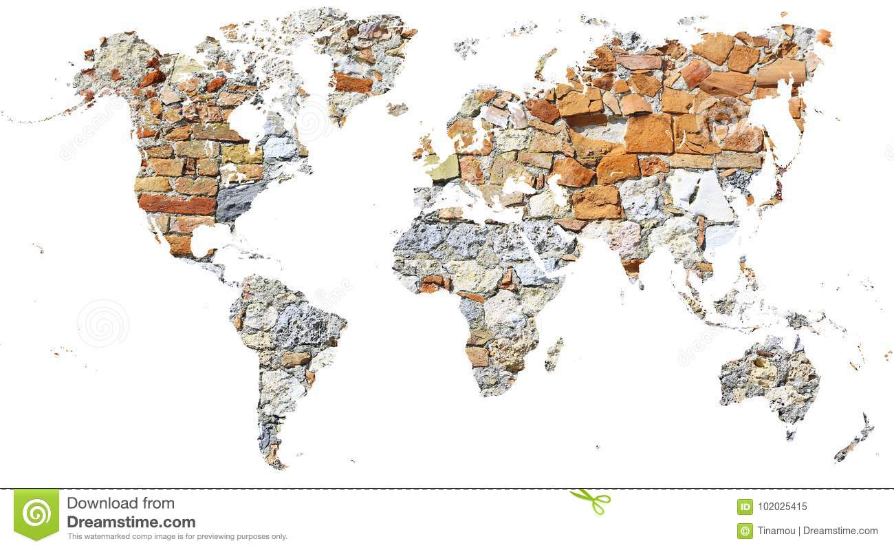 World map cut out in ancient wall made of bricks and stones stock cut out of the continents filled by a wall of ancient bricks and stones gumiabroncs Gallery