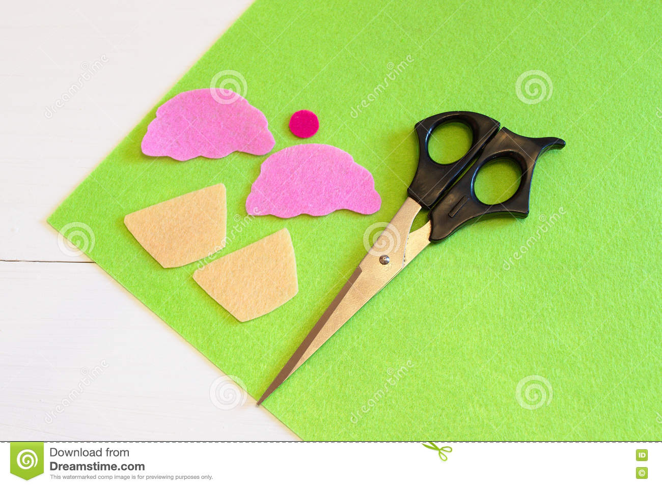 Download Cut Out Felt Details For Cupcake Toy, Scissors. Easy Kids DIY Project. Stock Photo - Image of fabric, felt: 76007168