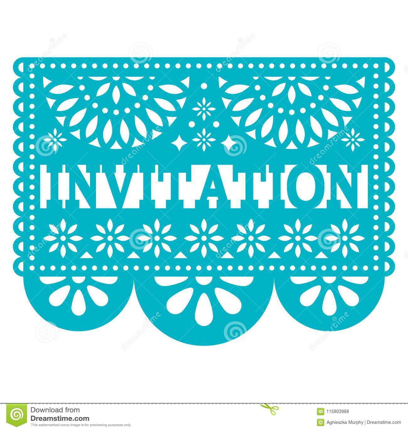 Invitation Papel Picado Vector Design Party Greeting Card Mexican