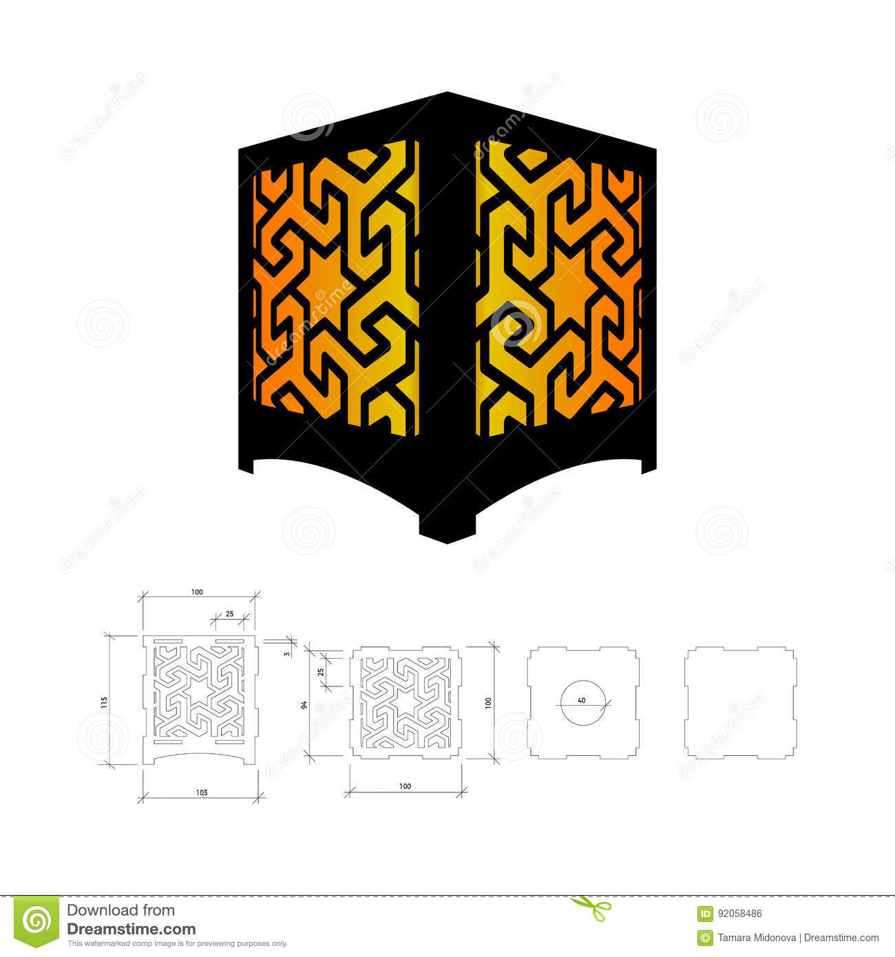 Cut Out Template For Lamp Stock Vector Ilration Of Laser 92058486