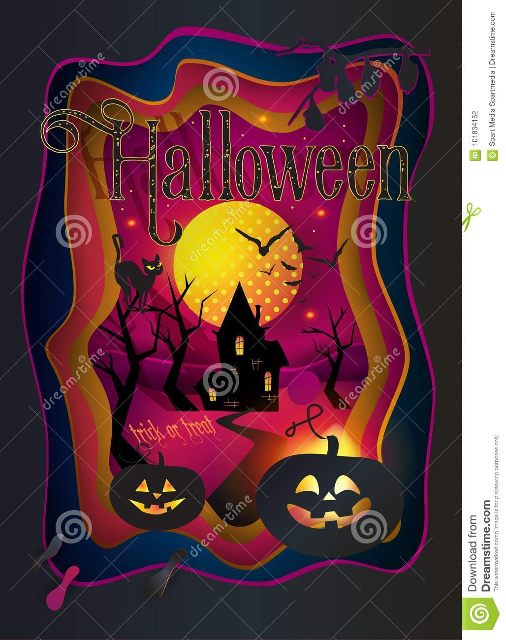 3d Halloween Background 2020 Halloween Trick Or Treat 2020 Party Invitation Vector Paper Art