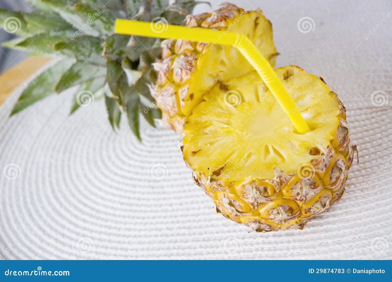 Half of fresh pineapple