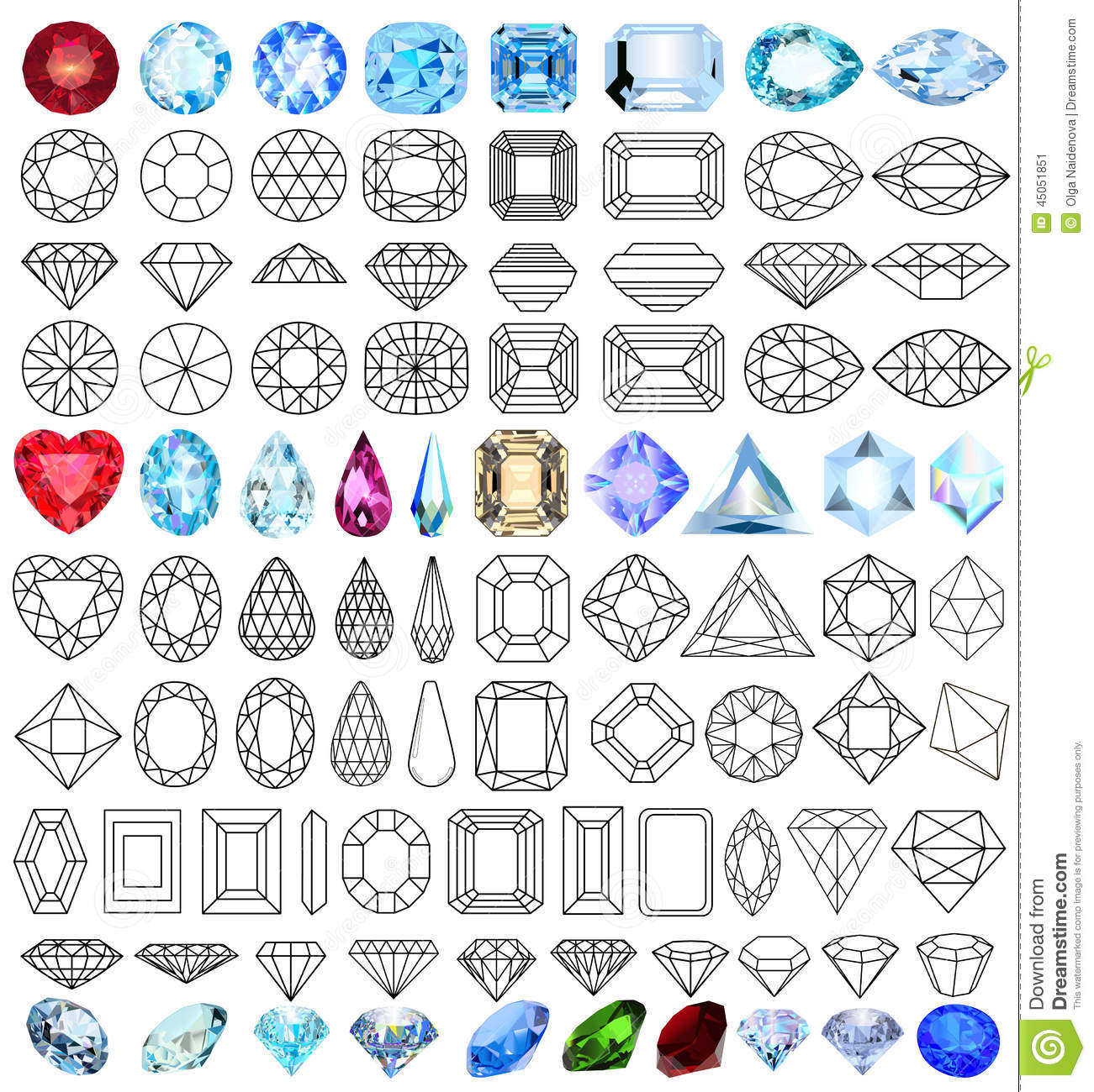 Cut Precious Gem Stones Set Of Forms Stock Vector