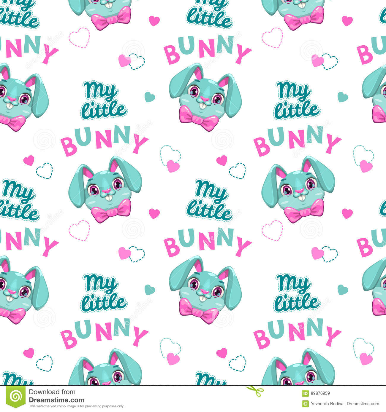 Cut Seamless Pattern With Bunny Faces And Slogans