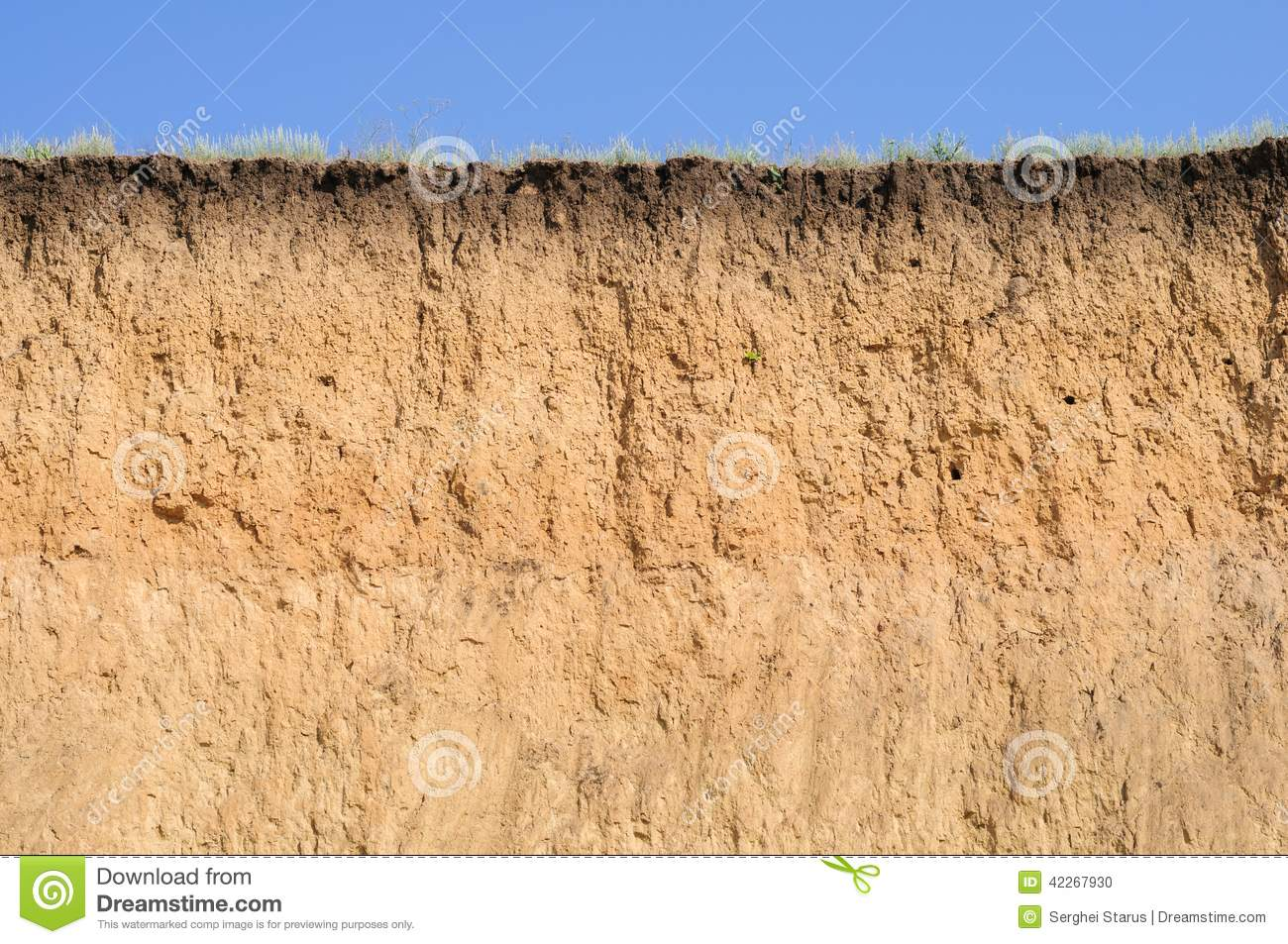 Cut of soil with different layers grass and sky stock for Earth soil layers