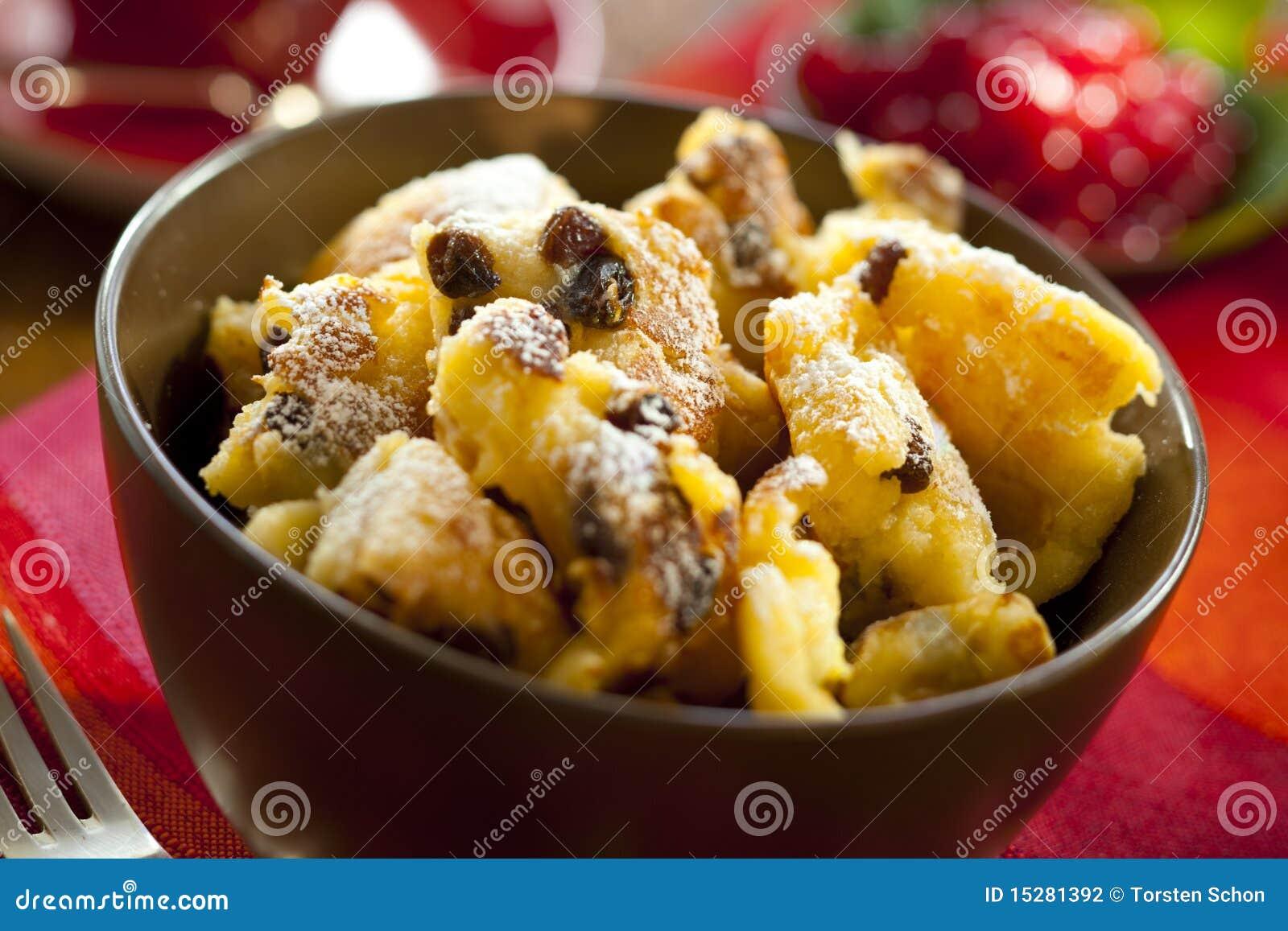 Cut-up and sugared pancake