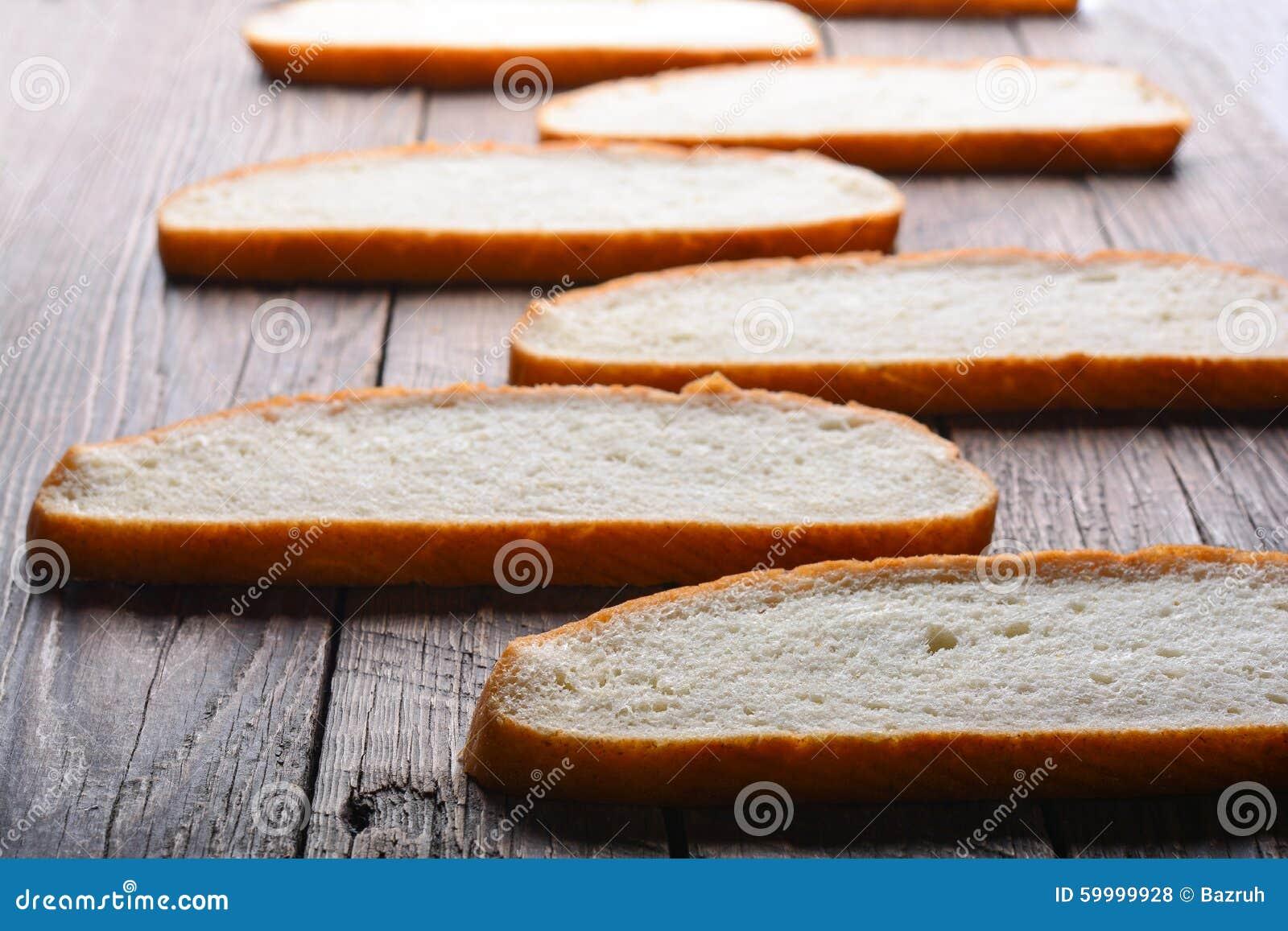 The cut white bread