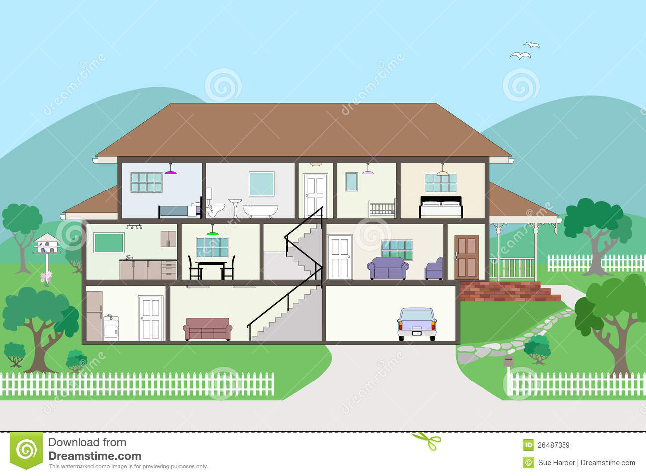 Cutaway Cross Section House Grouped And Layered Stock