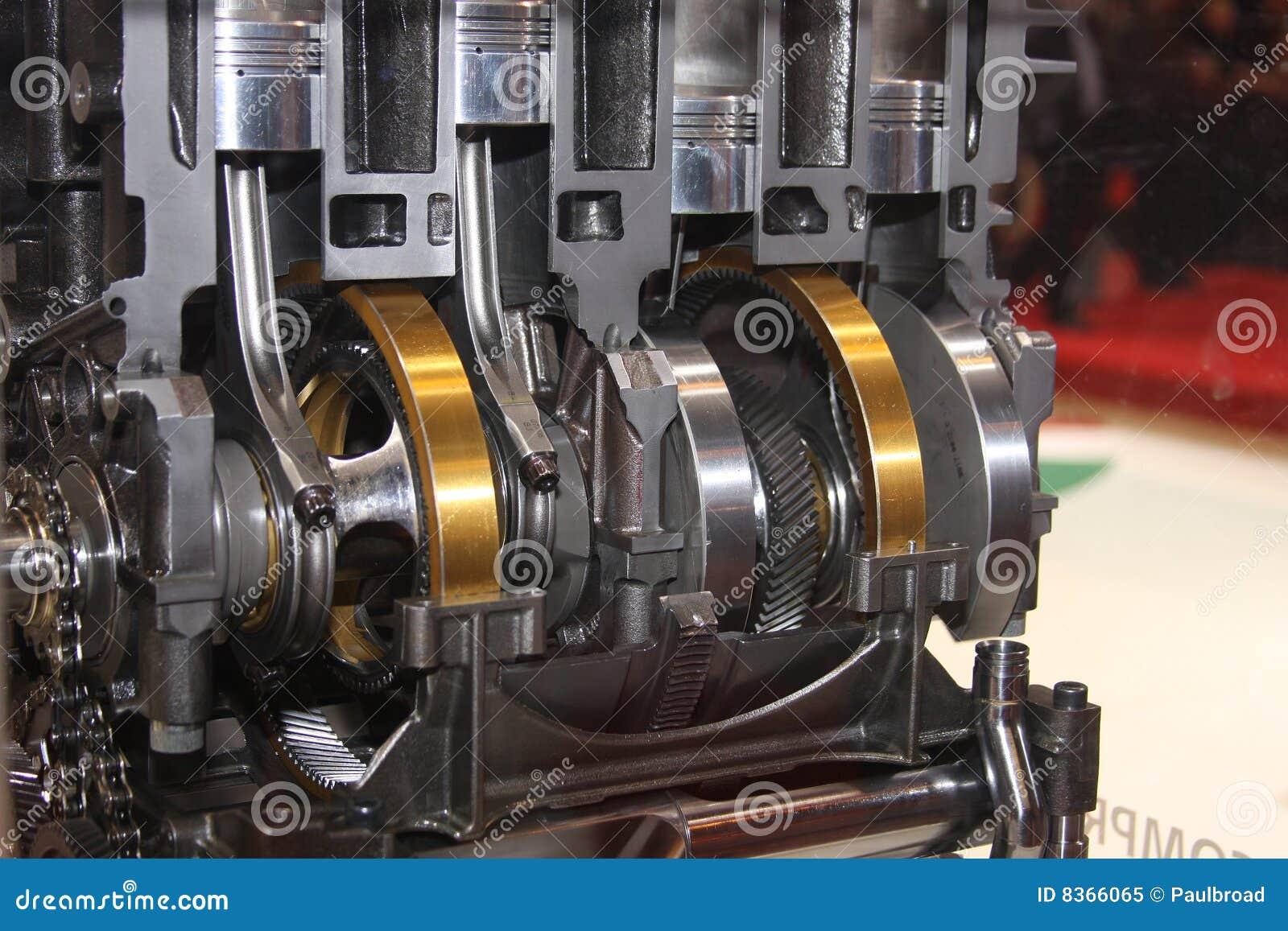 Cutaway Der Kurbel Und Kolben Im Motor Stockbild Bild