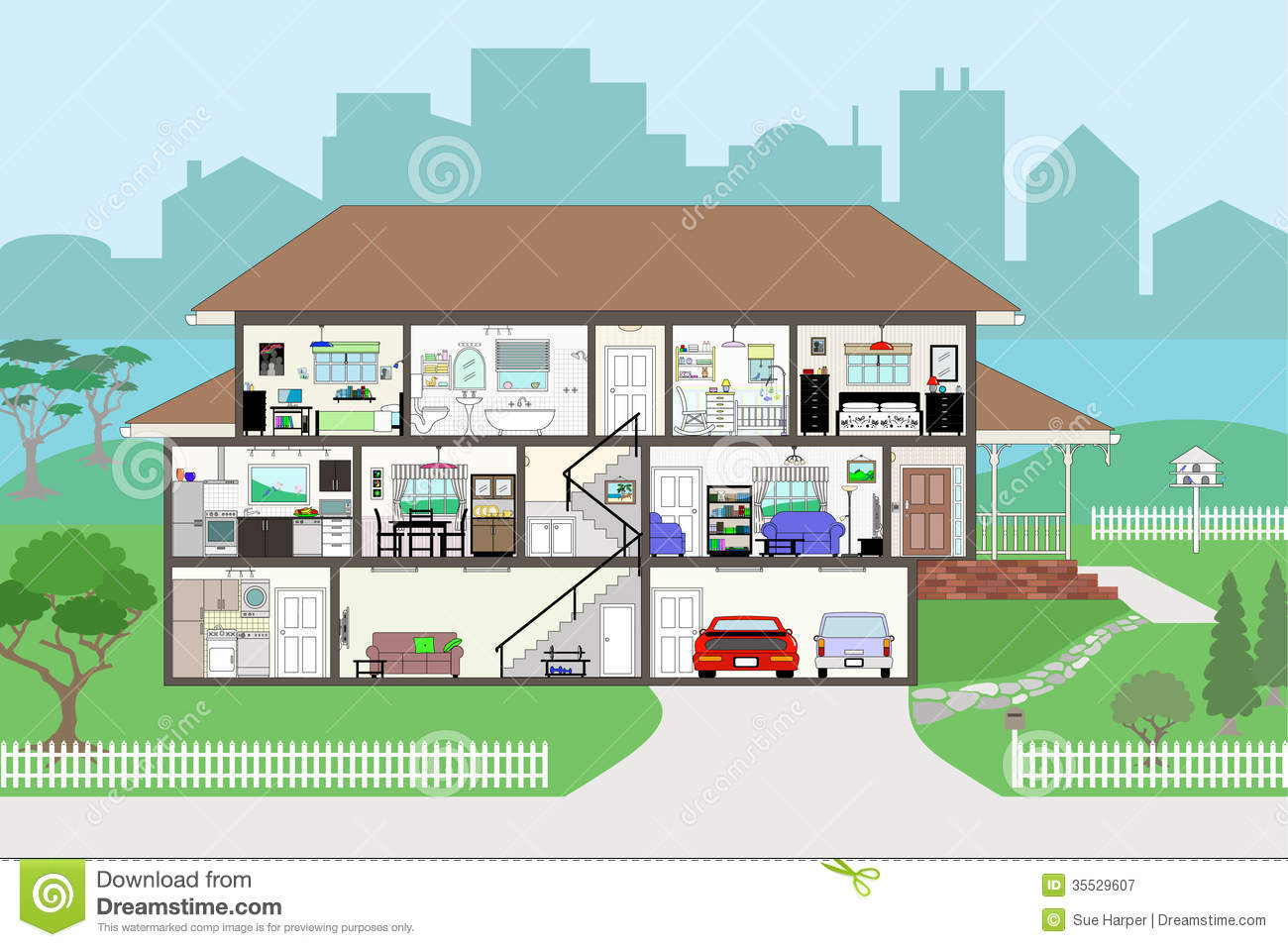 Garage door clip art - Cutaway House With Highly Detailed Rooms Eps8 Royalty Free