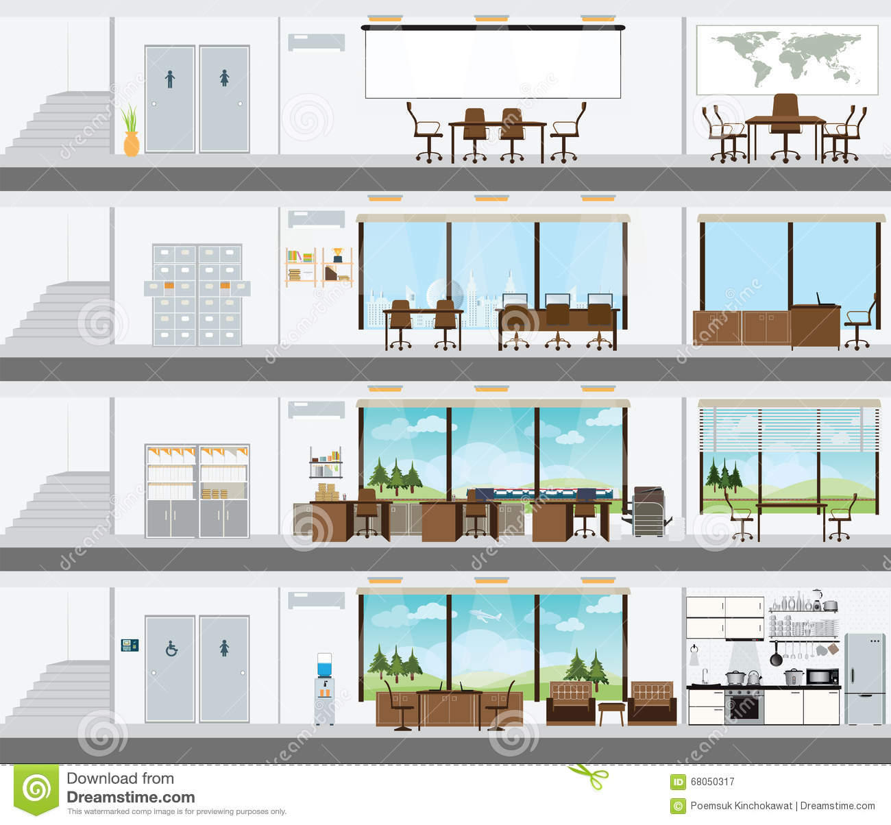 Cutaway Office Building With Interior Design Plan Cartoon