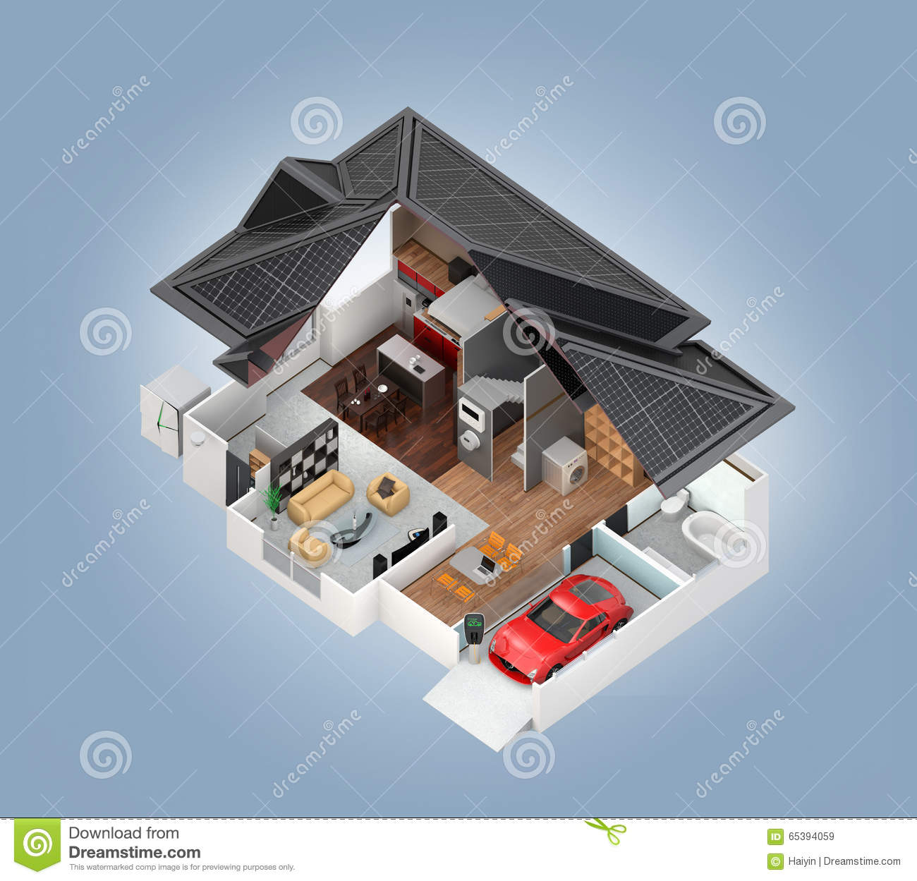Cutaway View Of Smart House Interior Stock Illustration