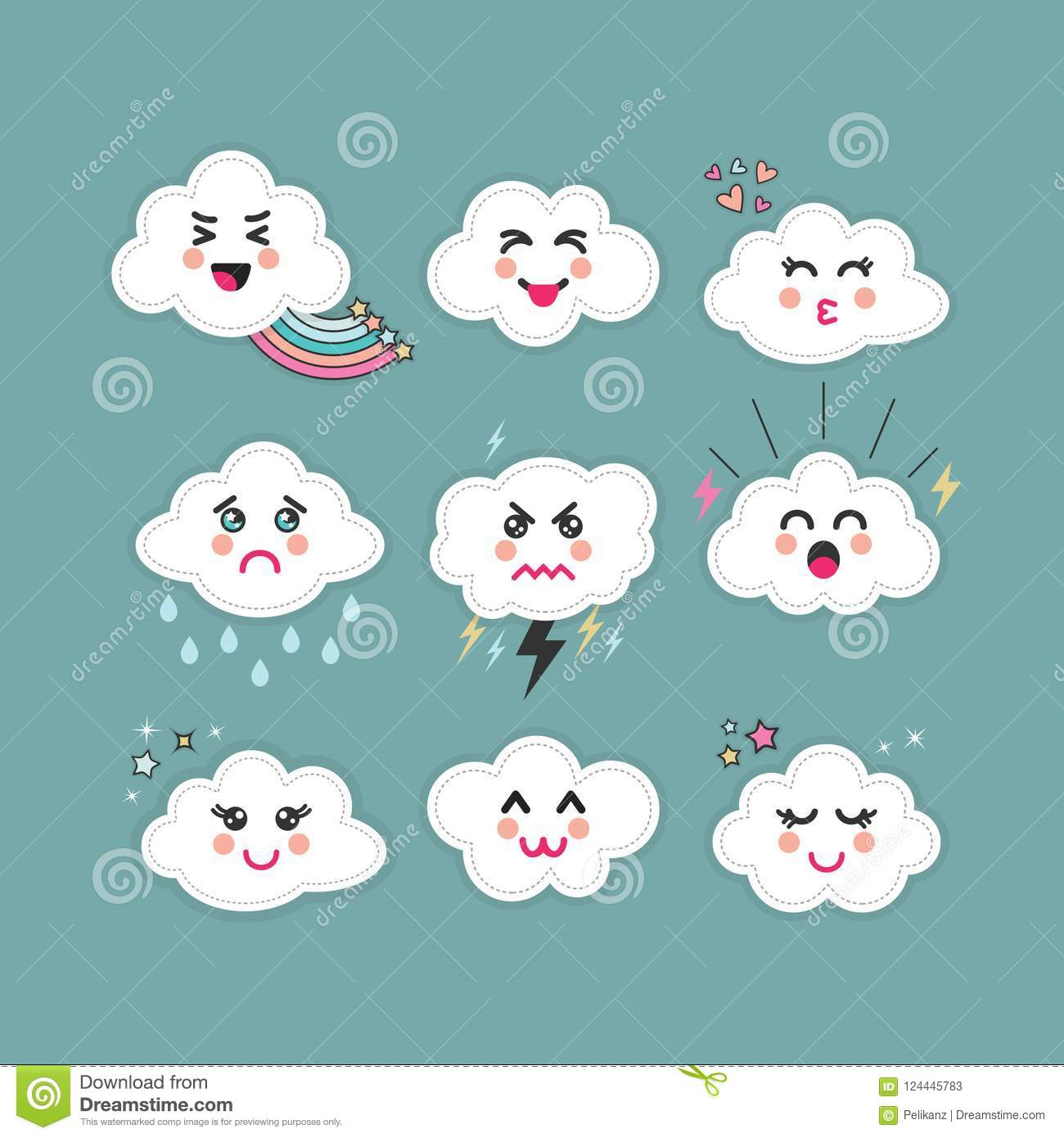 Cute Abstract Clouds Emoji Icons Set With Different