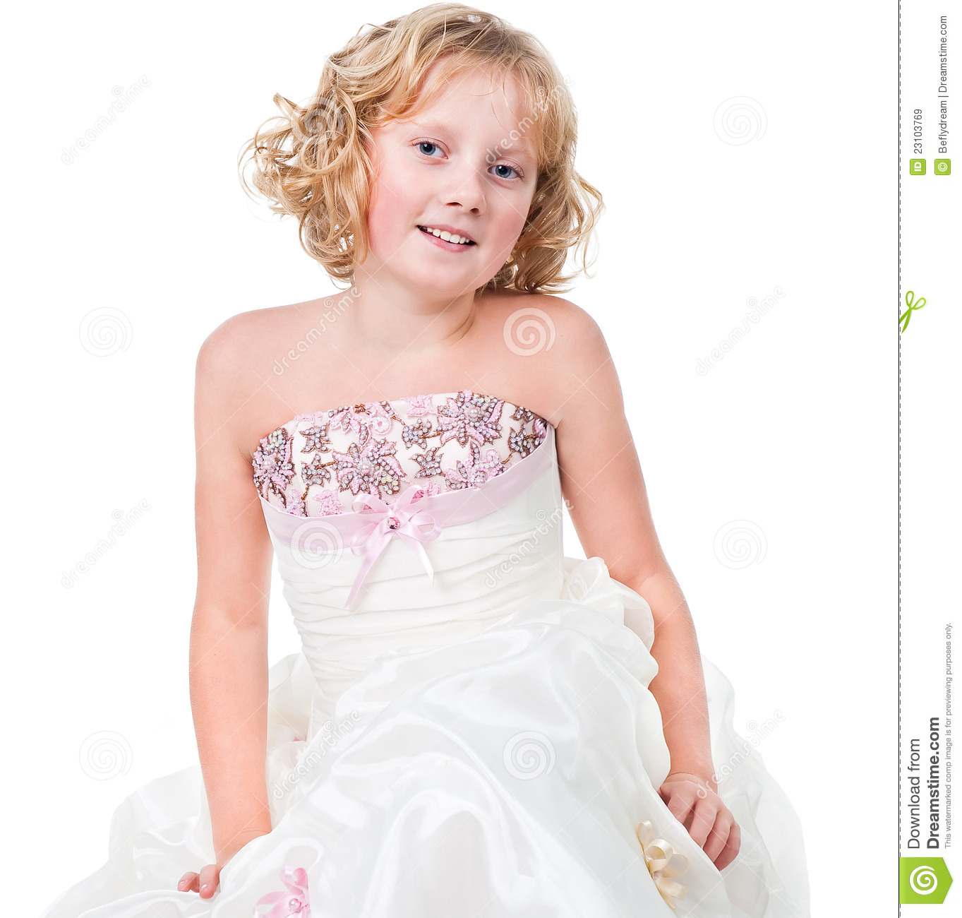 Cute Active Teen Girl Wearing Gown Isolated Stock Image - Image of ...