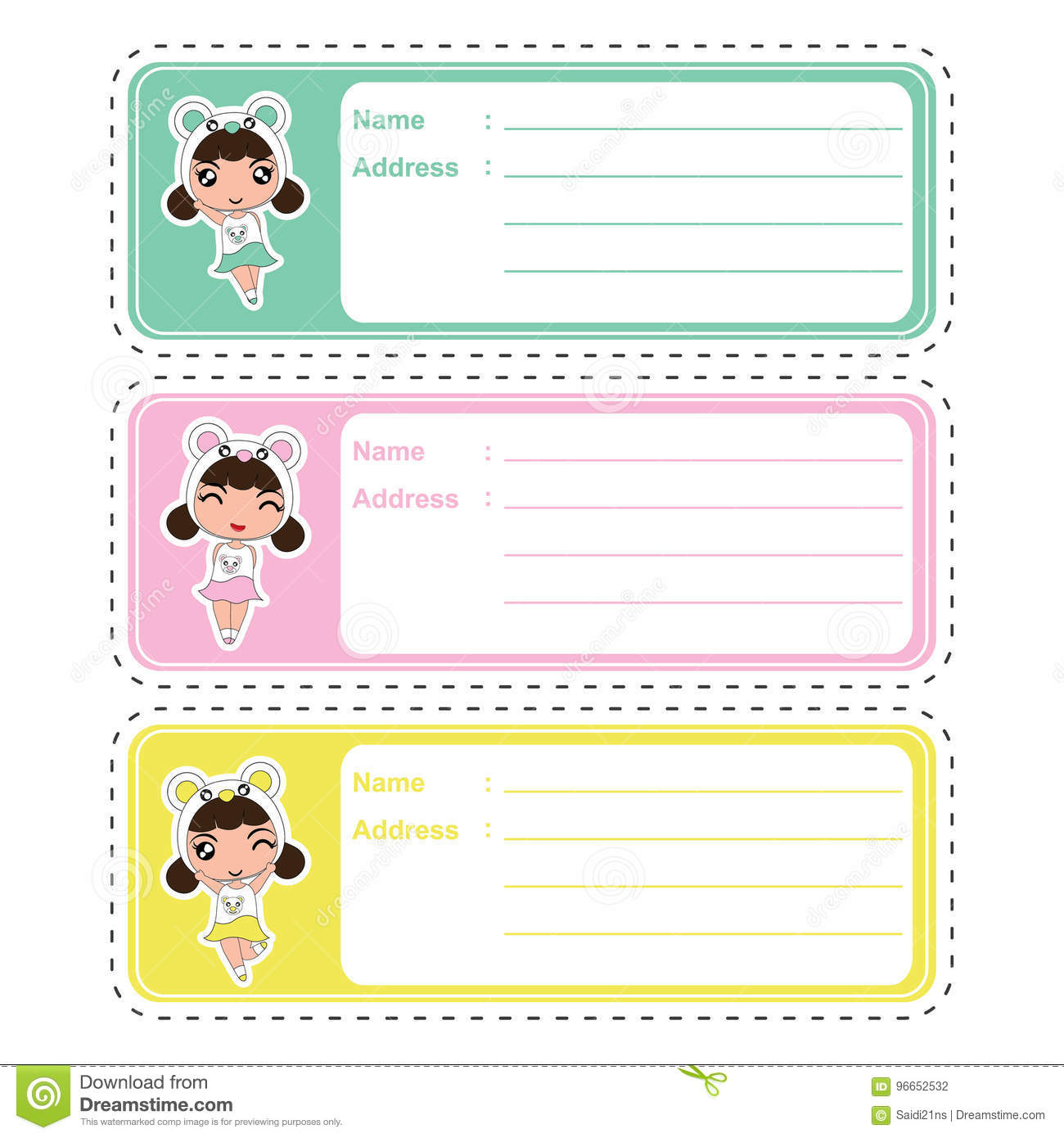 Cute address label cartoon design with cute colorful panda girls on pastel color suitable for kid address label