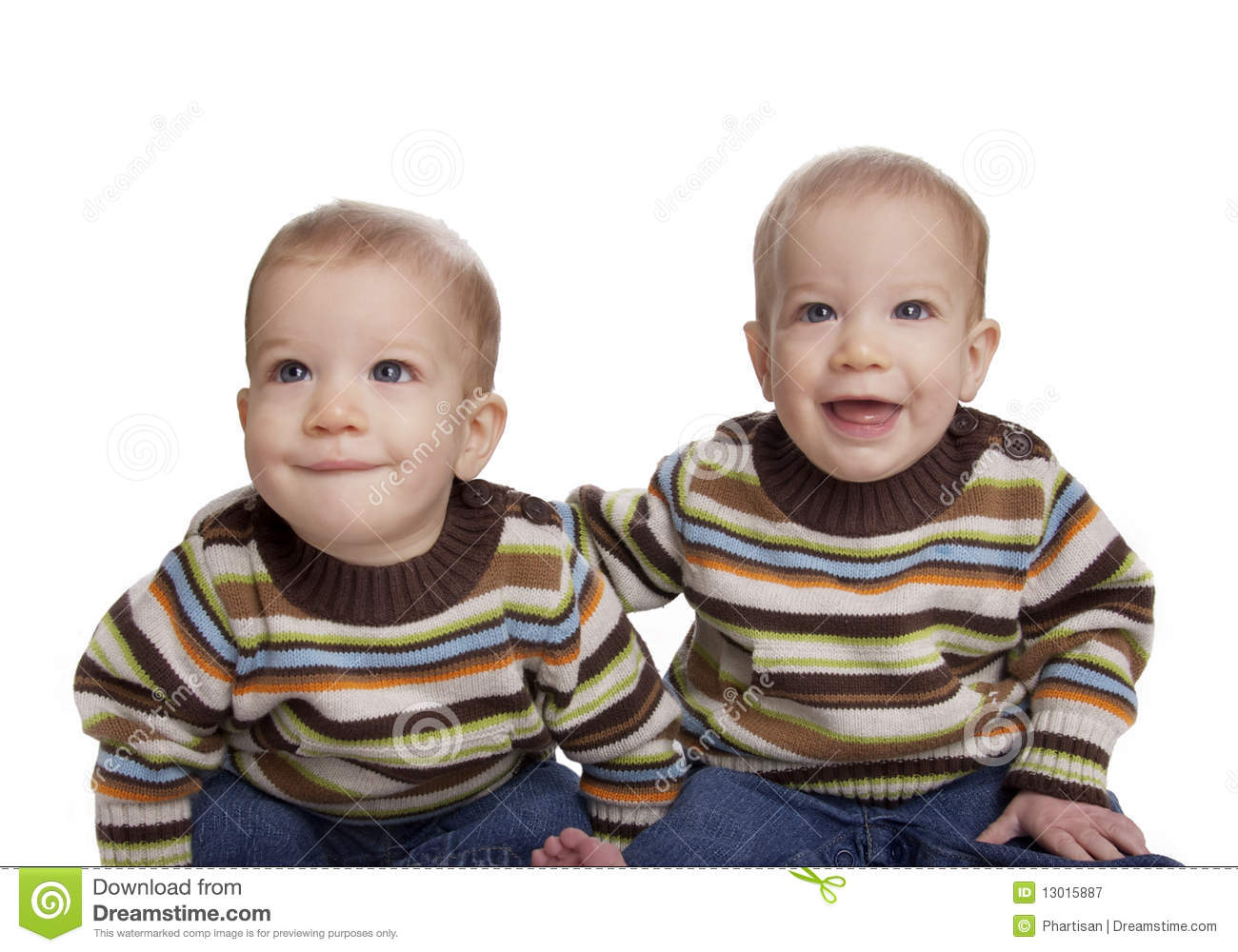 Cute Adorable Identical Baby Twin Boys Royalty Free Stock ...