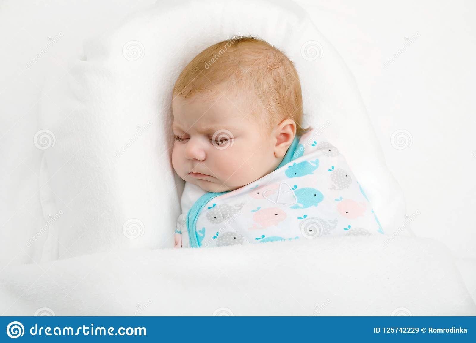 Cute Adorable Newborn Baby Wrapped In White Blanket Sleeping In