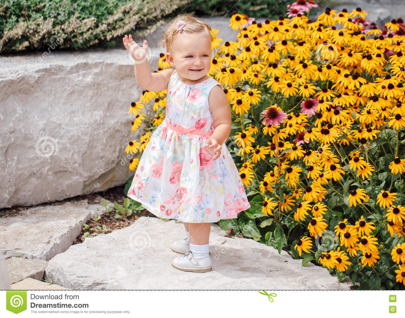 4570a0404ea6 Cute Adorable White Caucasian Baby Girl Child In White Dress ...