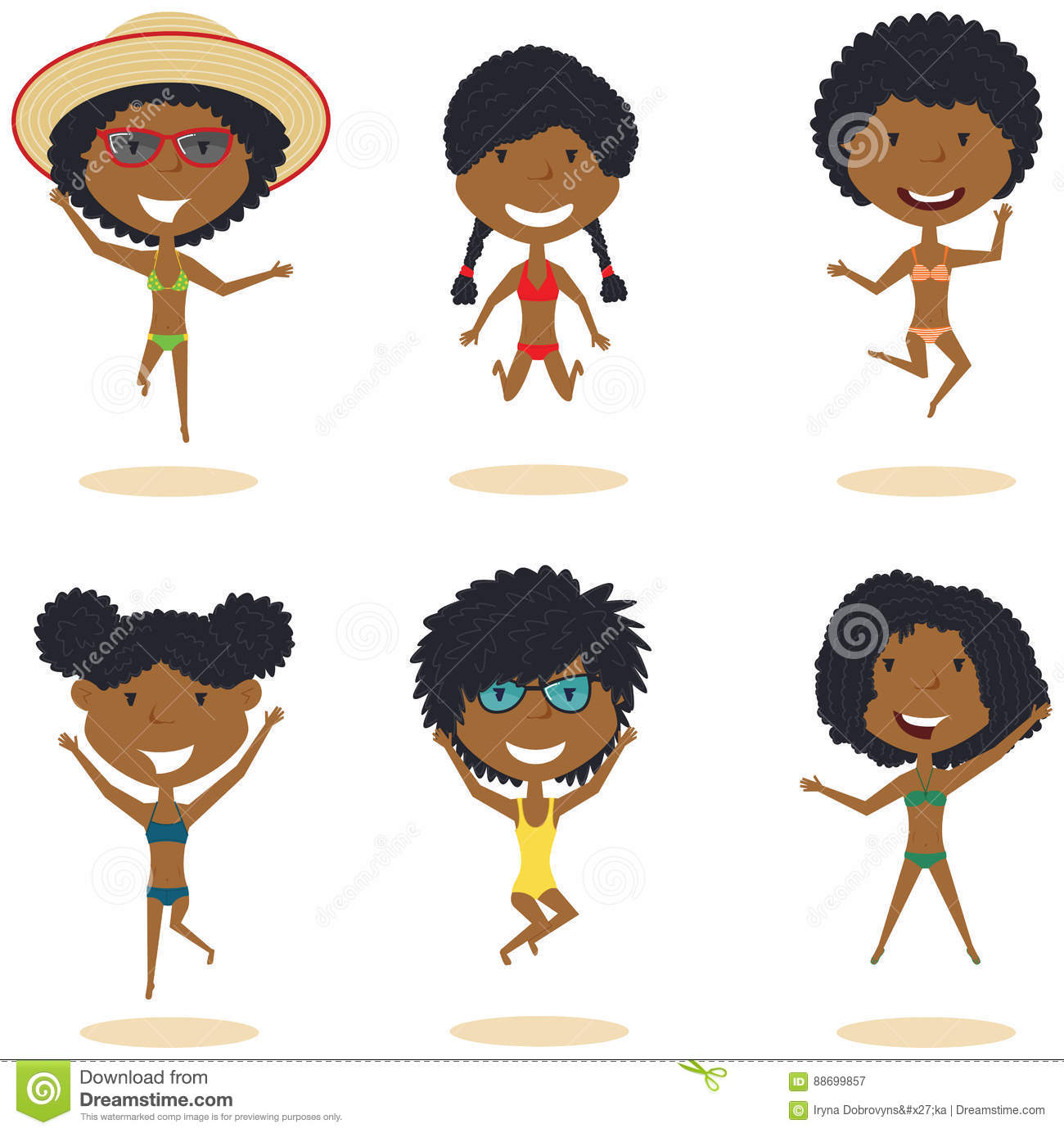 Cute African-Amercian Female Characters Jumping On The Beach