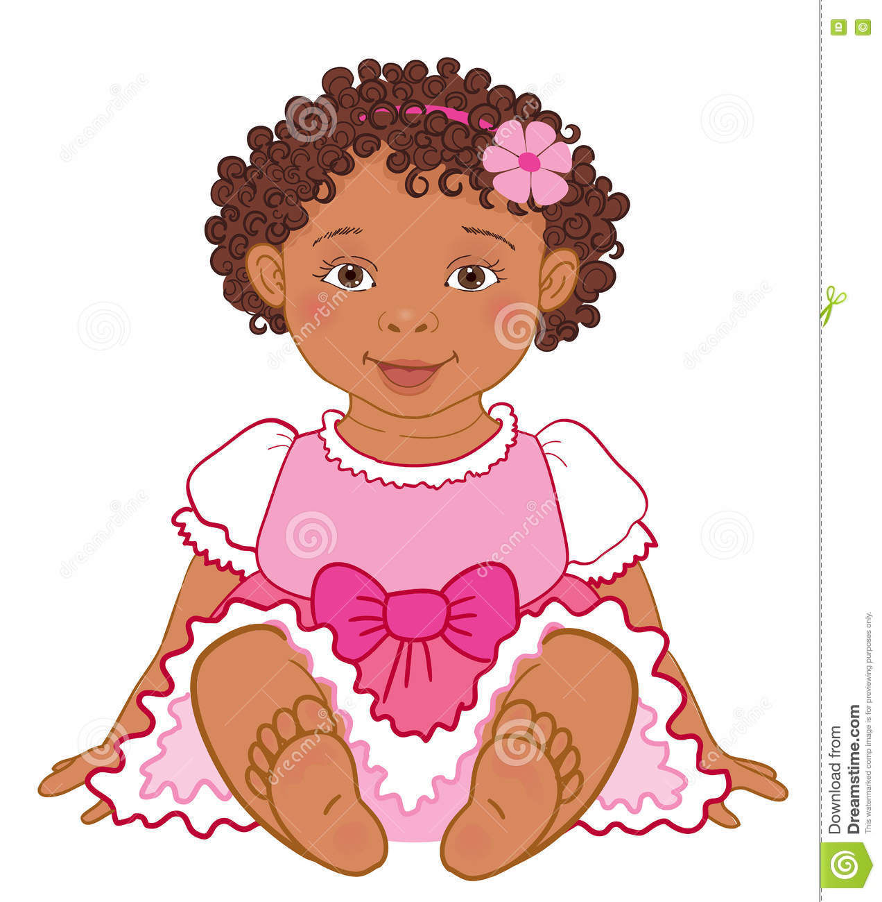 Download Cute African American Baby Girl In Pink Dress Happy ...