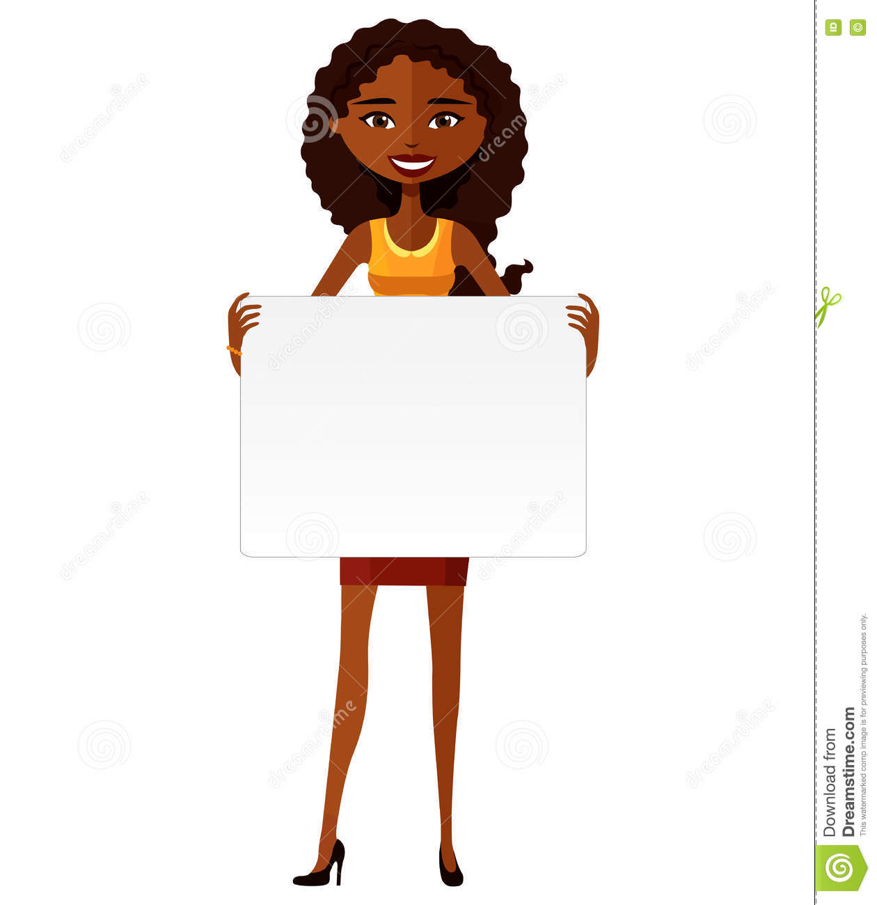 Download Cute African American Girl Holding Board Cutout Flat ...